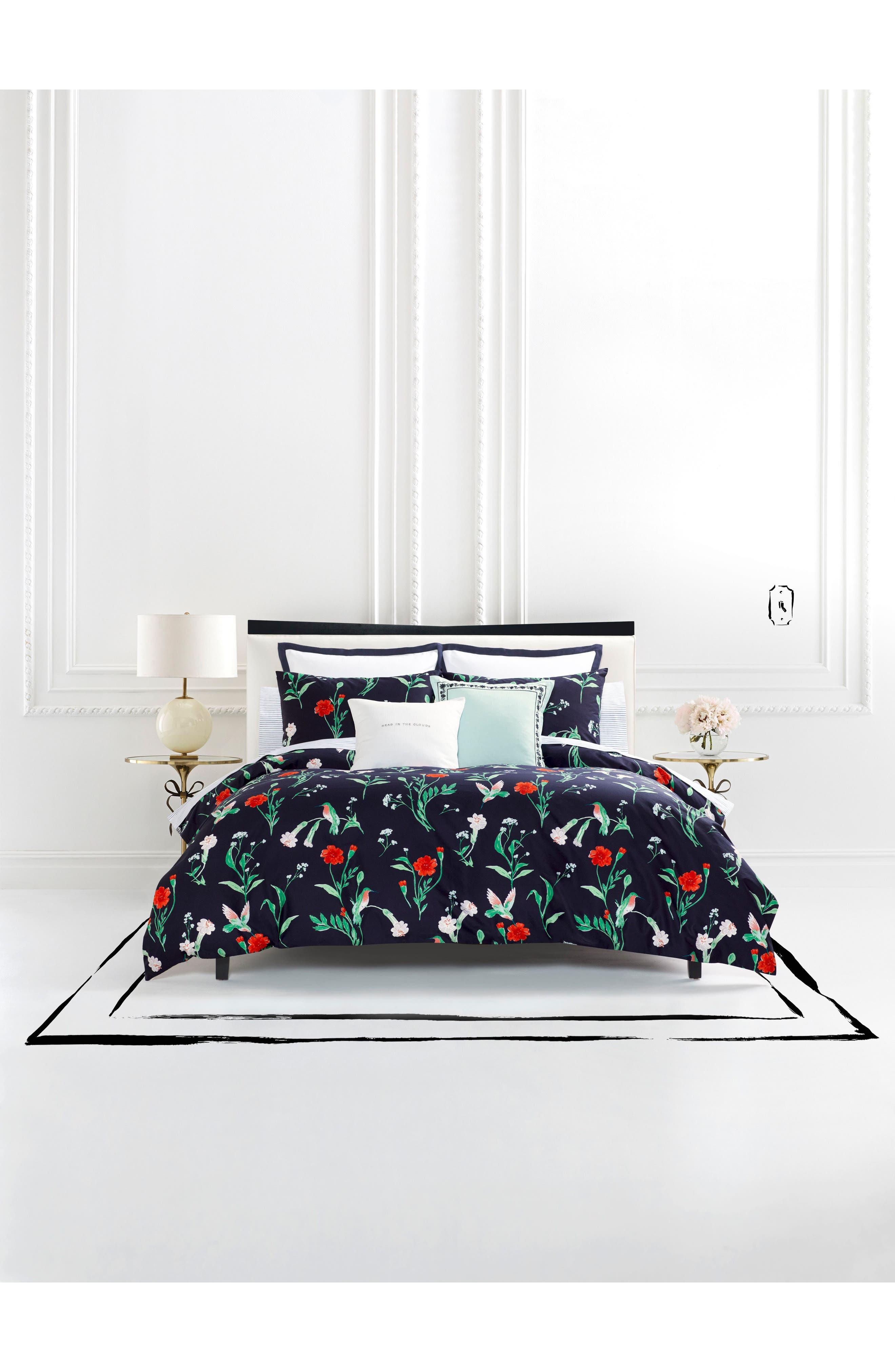 hummingbird comforter & sham set,                         Main,                         color, NAVY