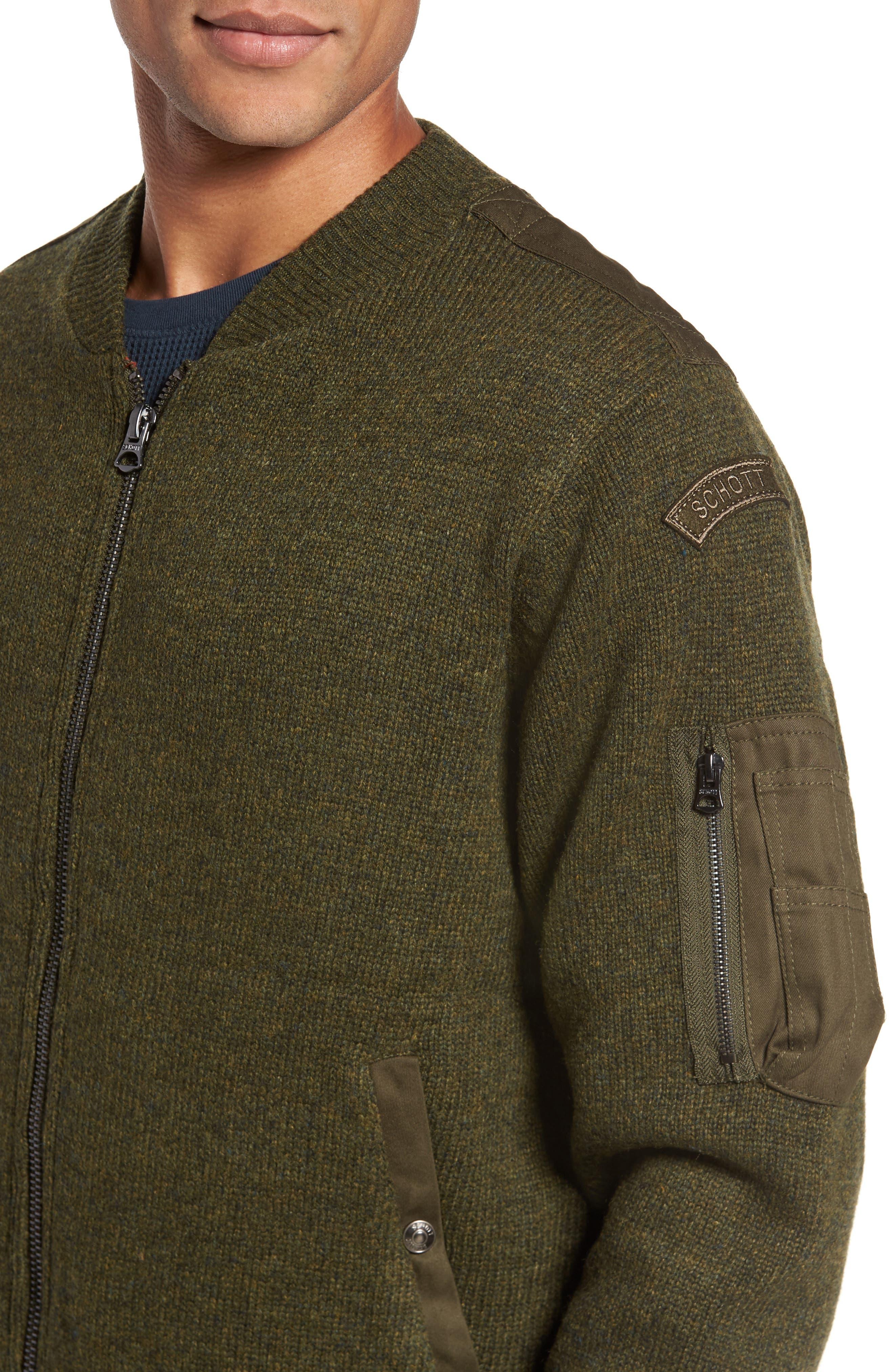 MA-1 Sweater Jacket,                             Alternate thumbnail 4, color,                             MOSS GREEN
