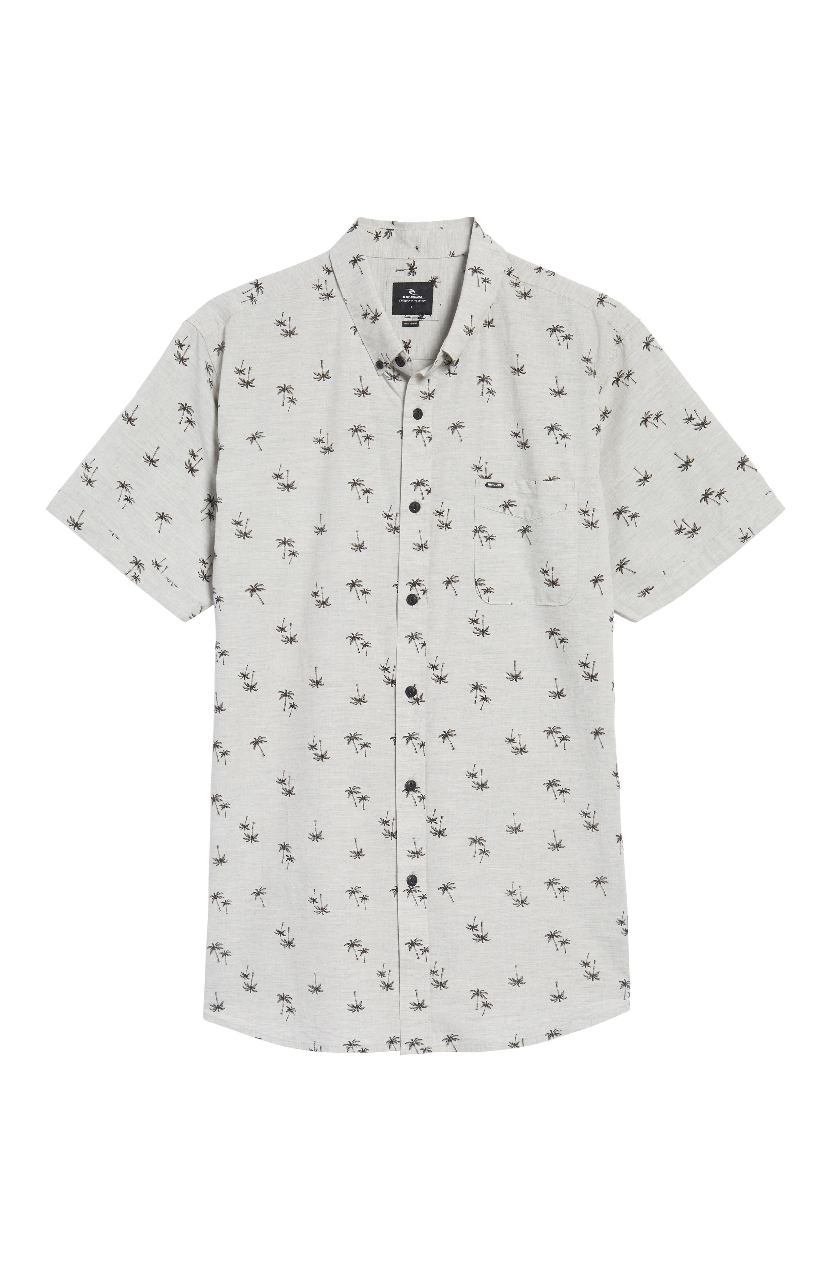 Palm Tree Print Woven Shirt,                             Alternate thumbnail 6, color,                             065