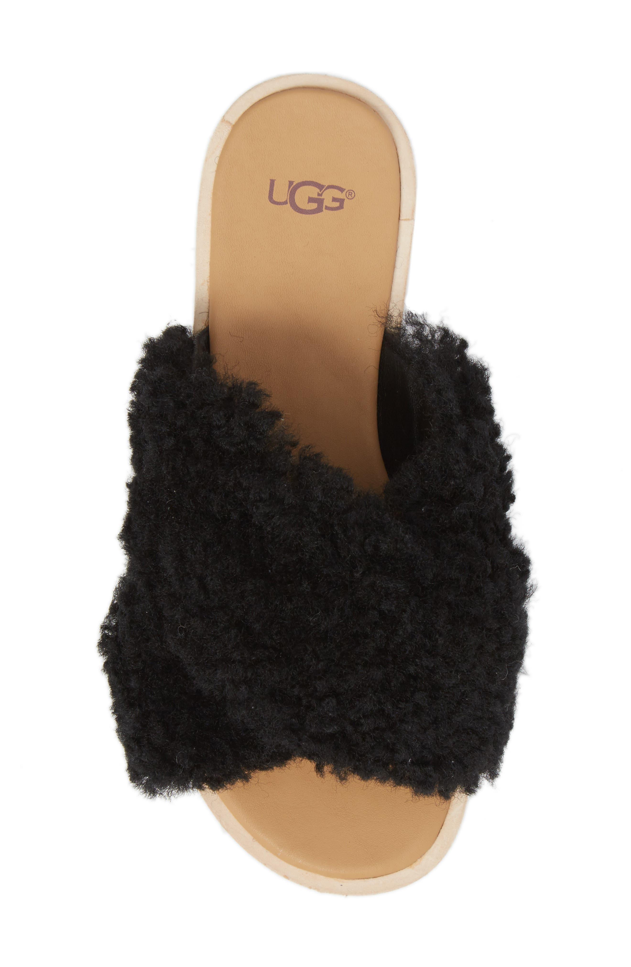 Joni Genuine Shearling Slide Sandal,                             Alternate thumbnail 5, color,                             BLACK