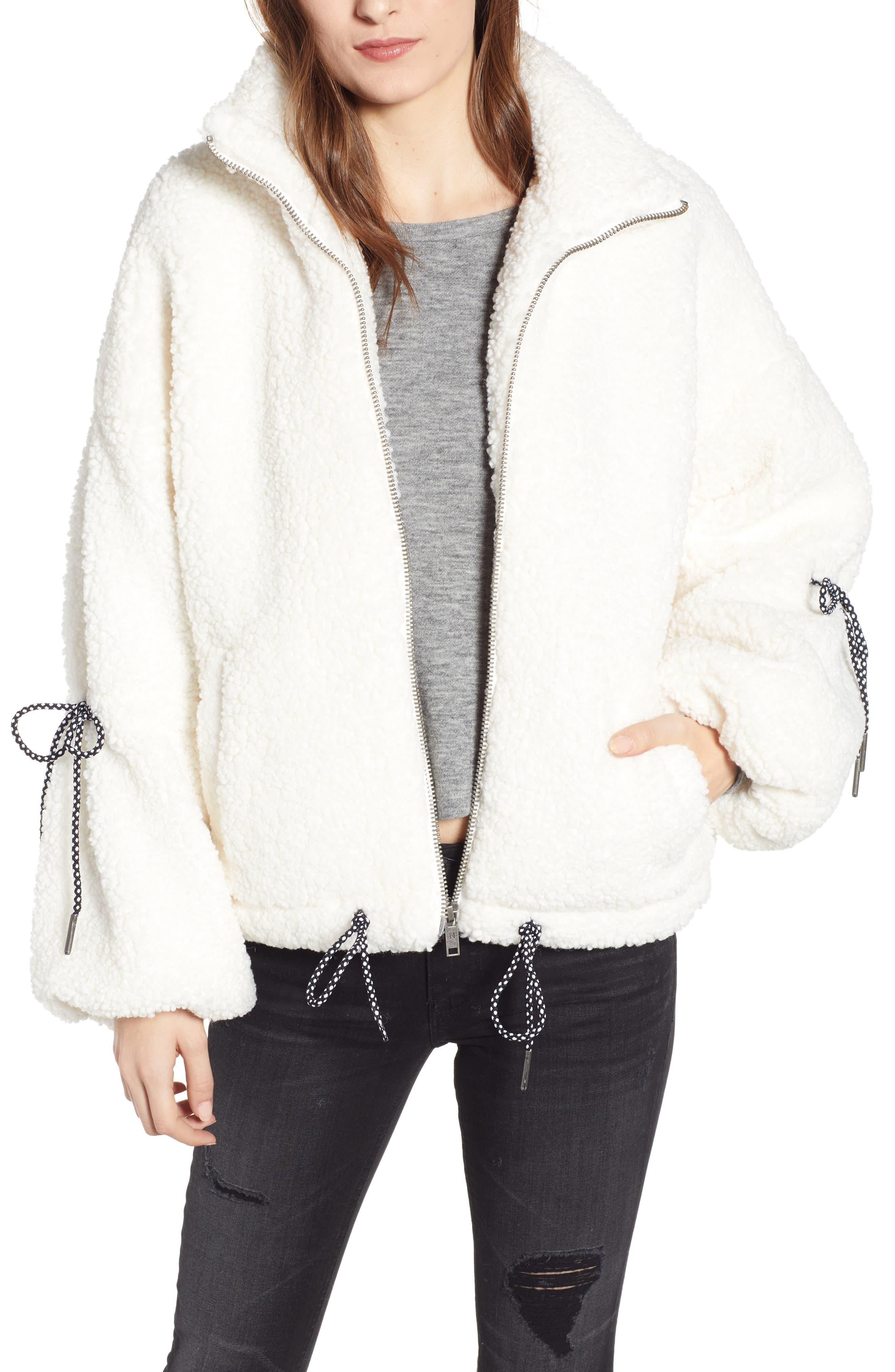 Noisy May Tie Sleeve Fleece Jacket, White
