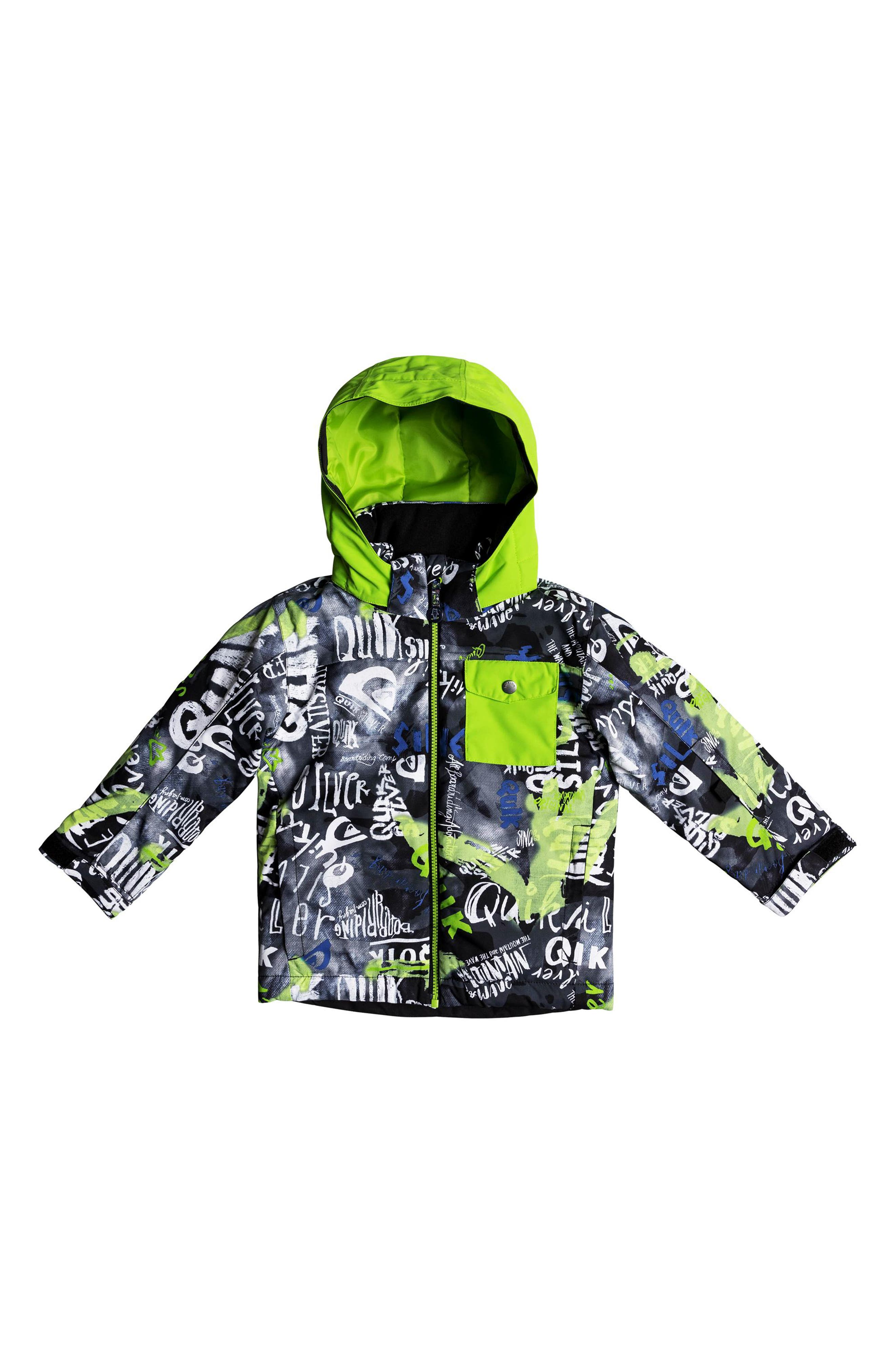 Little Mission Waterproof Hooded Jacket,                         Main,                         color, BLACK CONSTRUCT