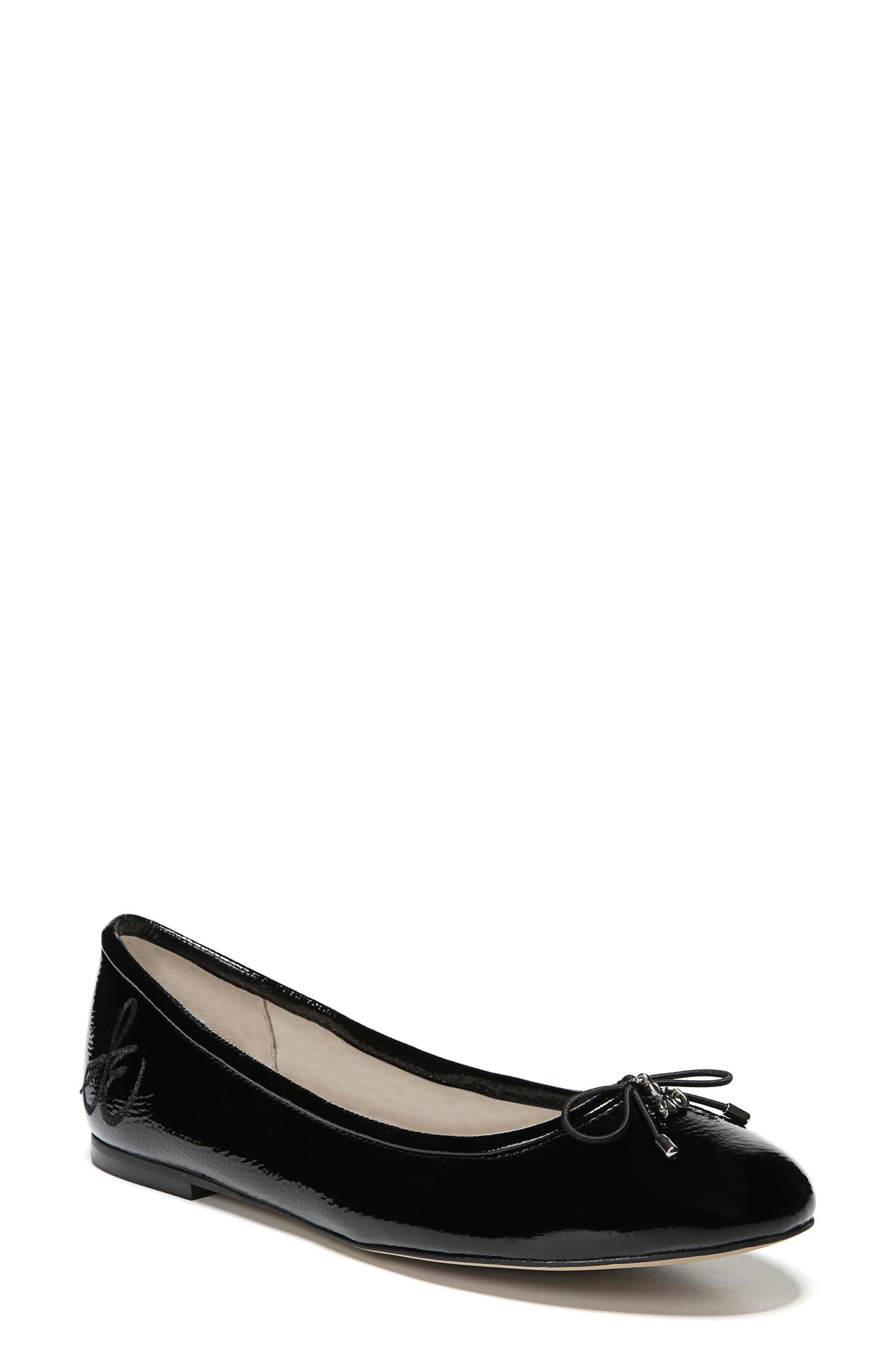 Felicia Flat,                         Main,                         color, BLACK CRINKLE PATENT LEATHER
