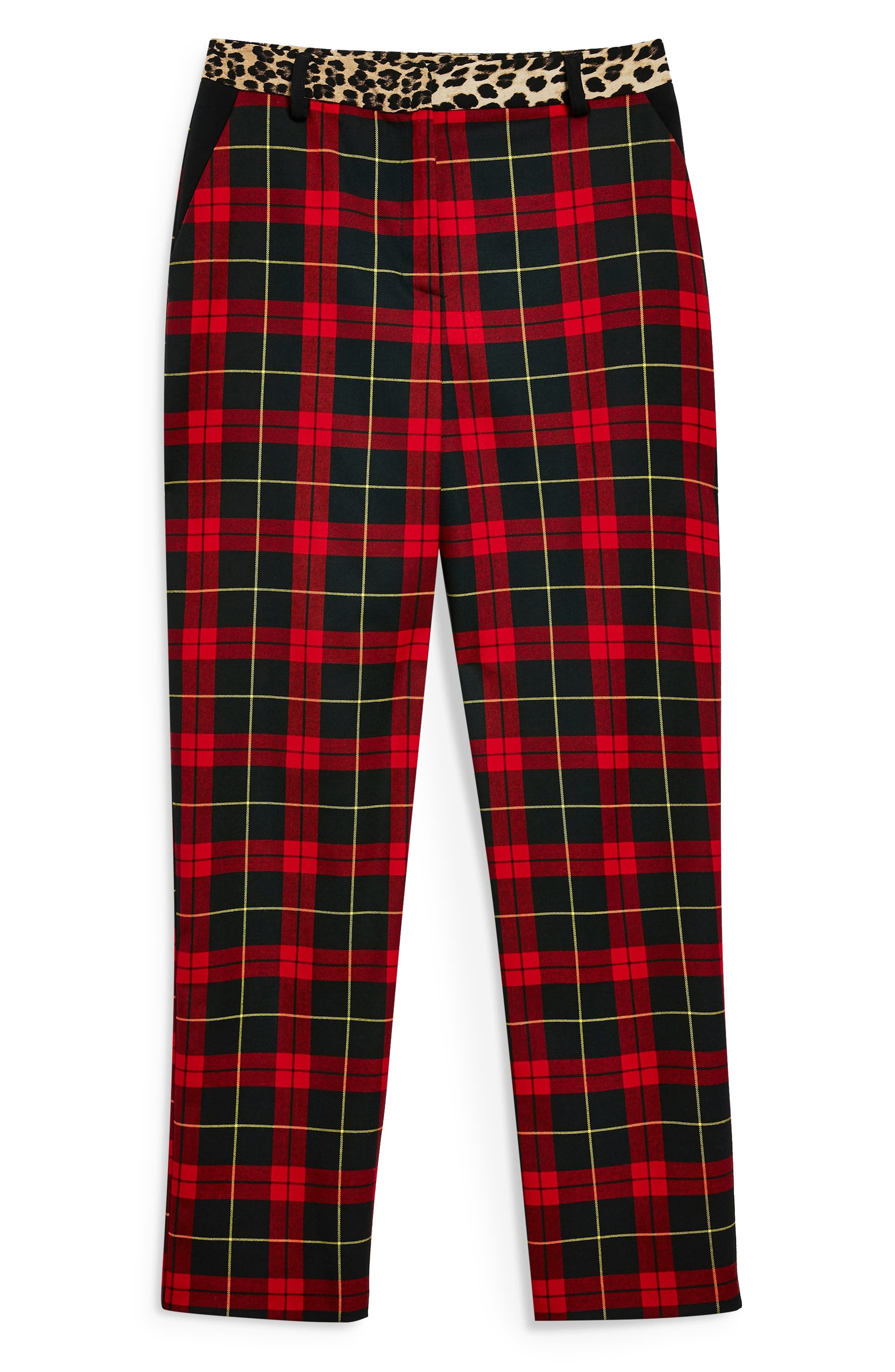 Leopard Trim Tartan Trousers,                             Alternate thumbnail 4, color,                             600