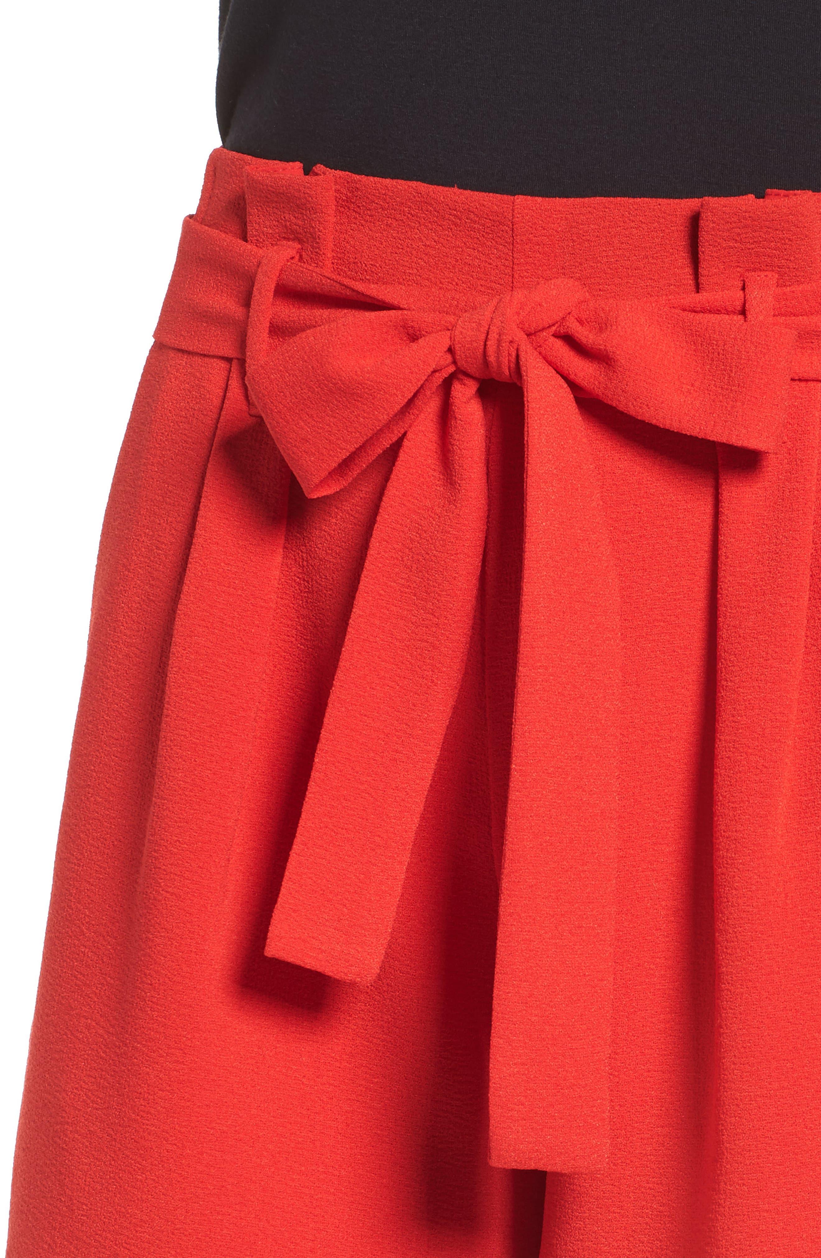 Tie Waist Shorts,                             Alternate thumbnail 4, color,                             RED LIPSTICK