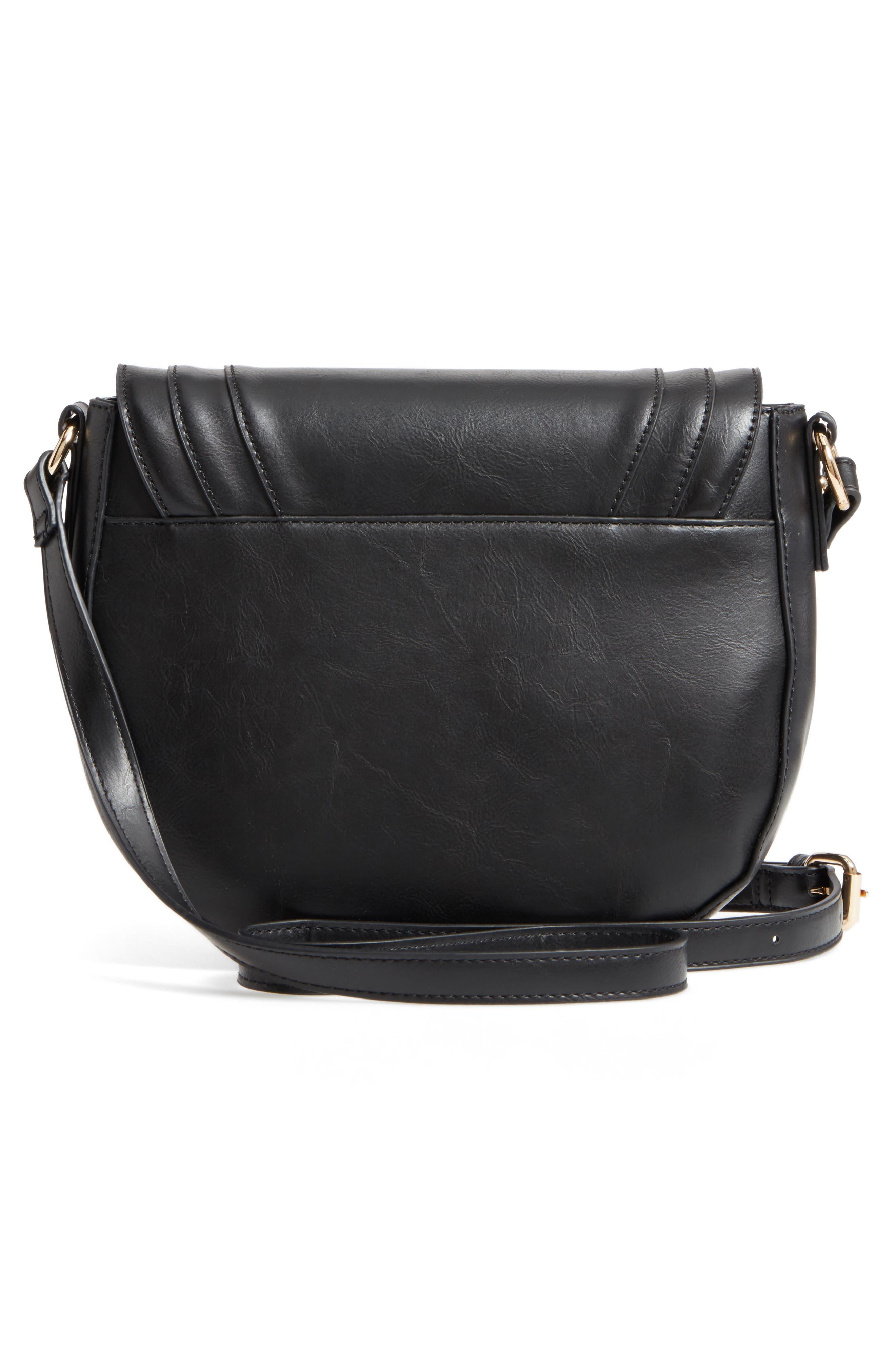 Piri Faux Leather Saddle Bag,                             Alternate thumbnail 3, color,                             001