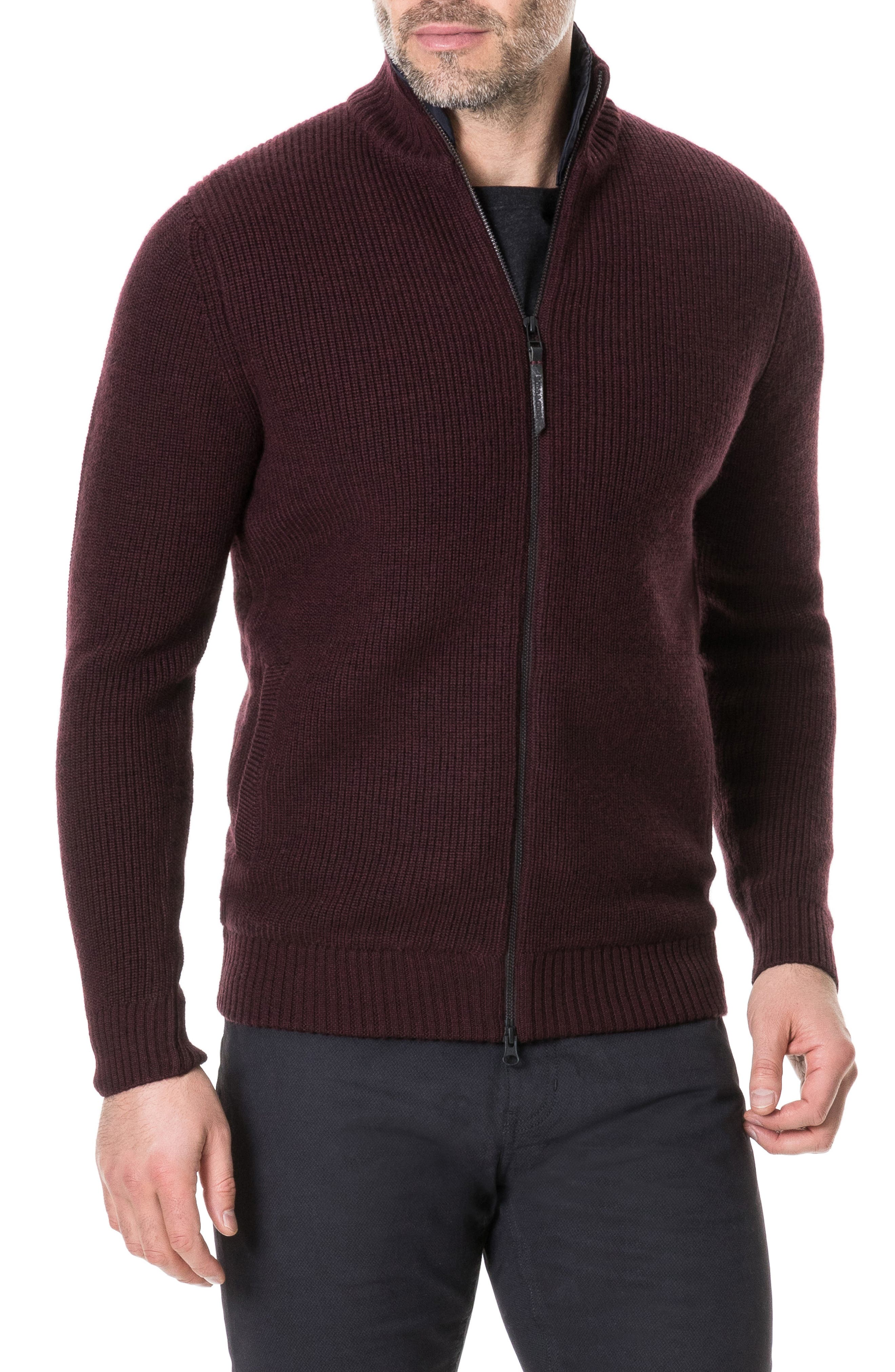 Camerons Track Zip Wool Sweater,                             Main thumbnail 1, color,                             BURGUNDY