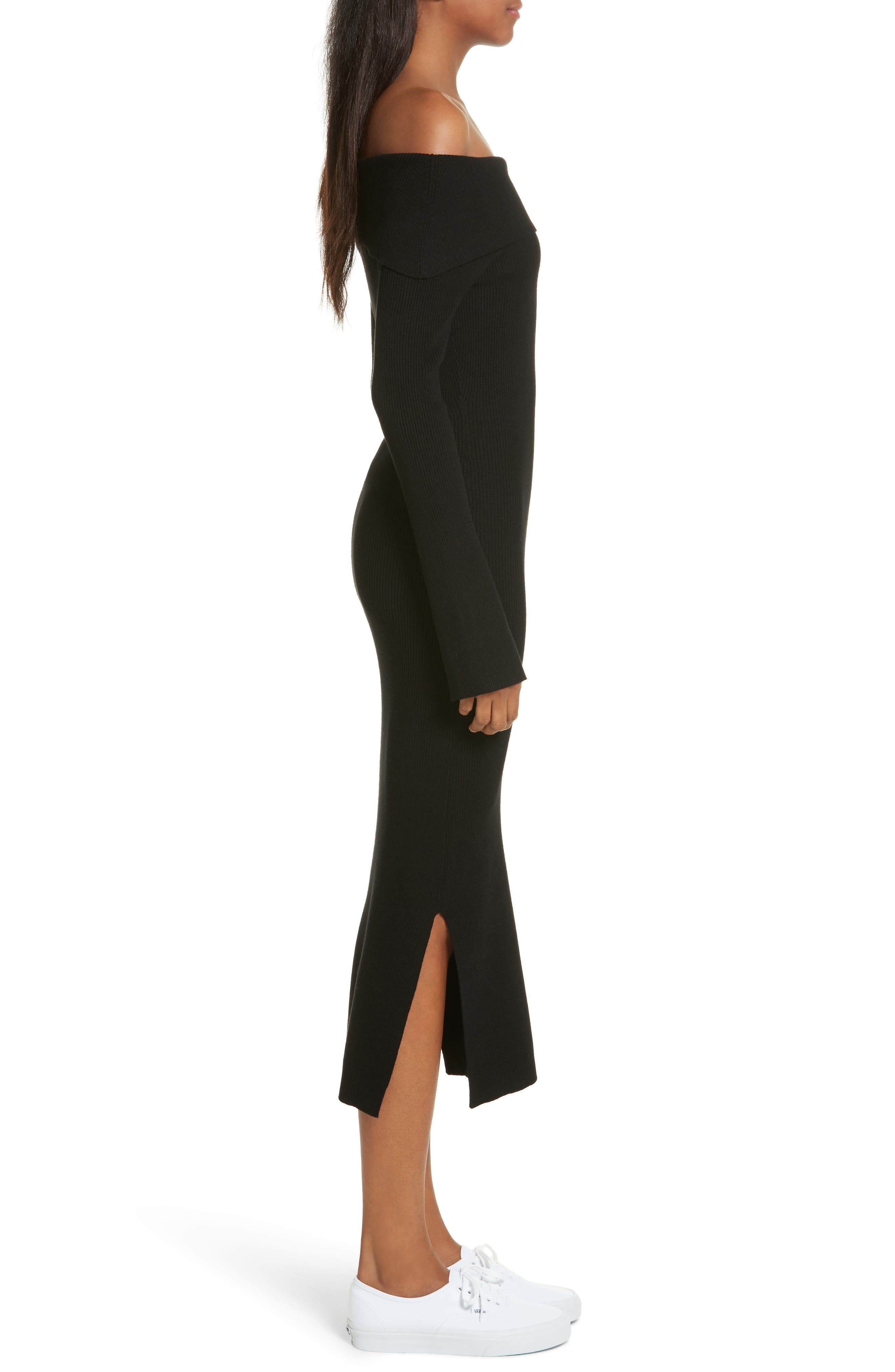 Off the Shoulder Ribbed Maxi Dress,                             Alternate thumbnail 3, color,                             001