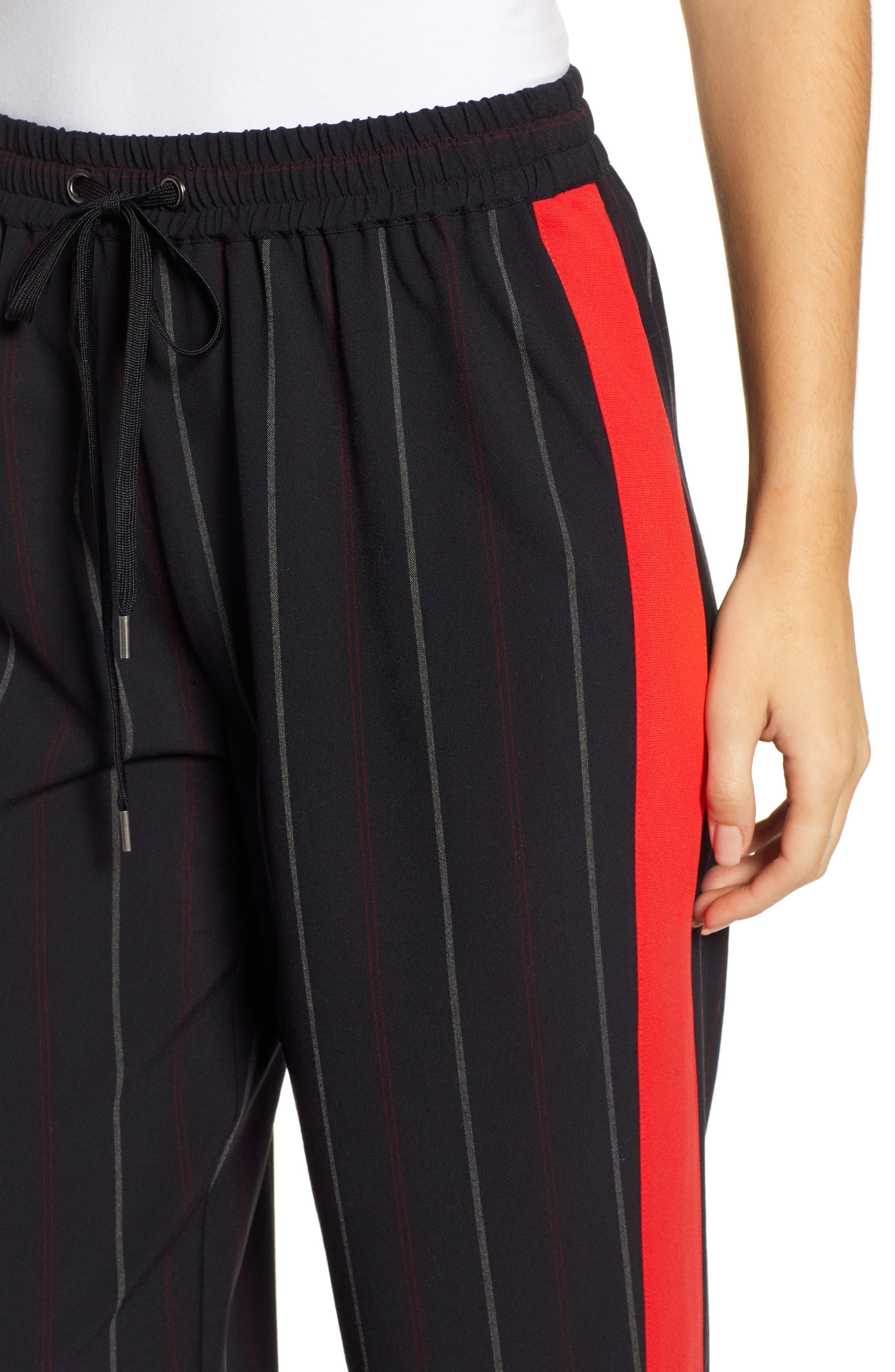 Wide Leg Track Pants,                             Alternate thumbnail 4, color,                             BLACK SHIRLIE STRIPE