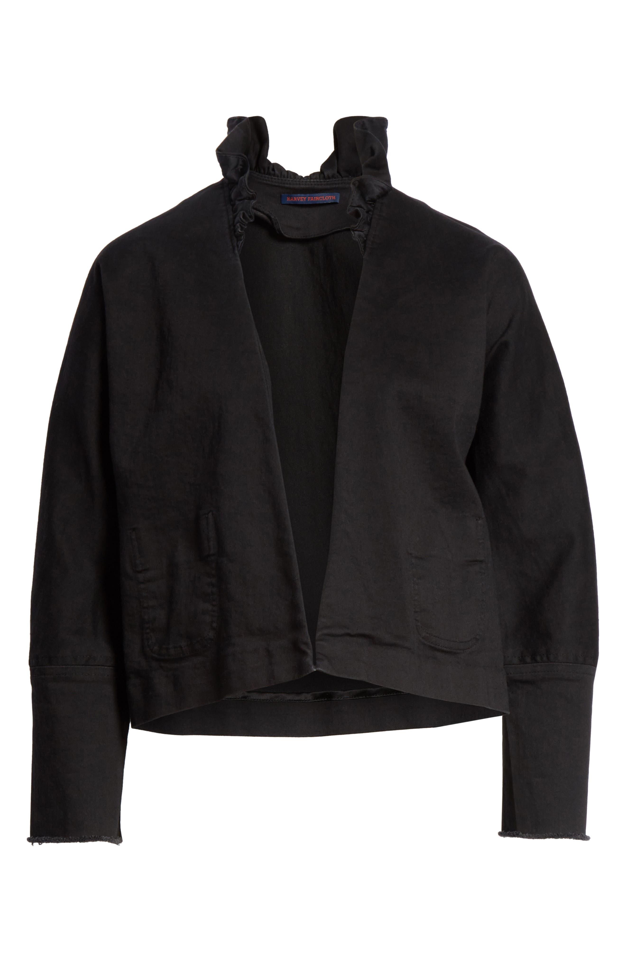 Ruffle Collar Crop Denim Jacket,                             Alternate thumbnail 5, color,                             001
