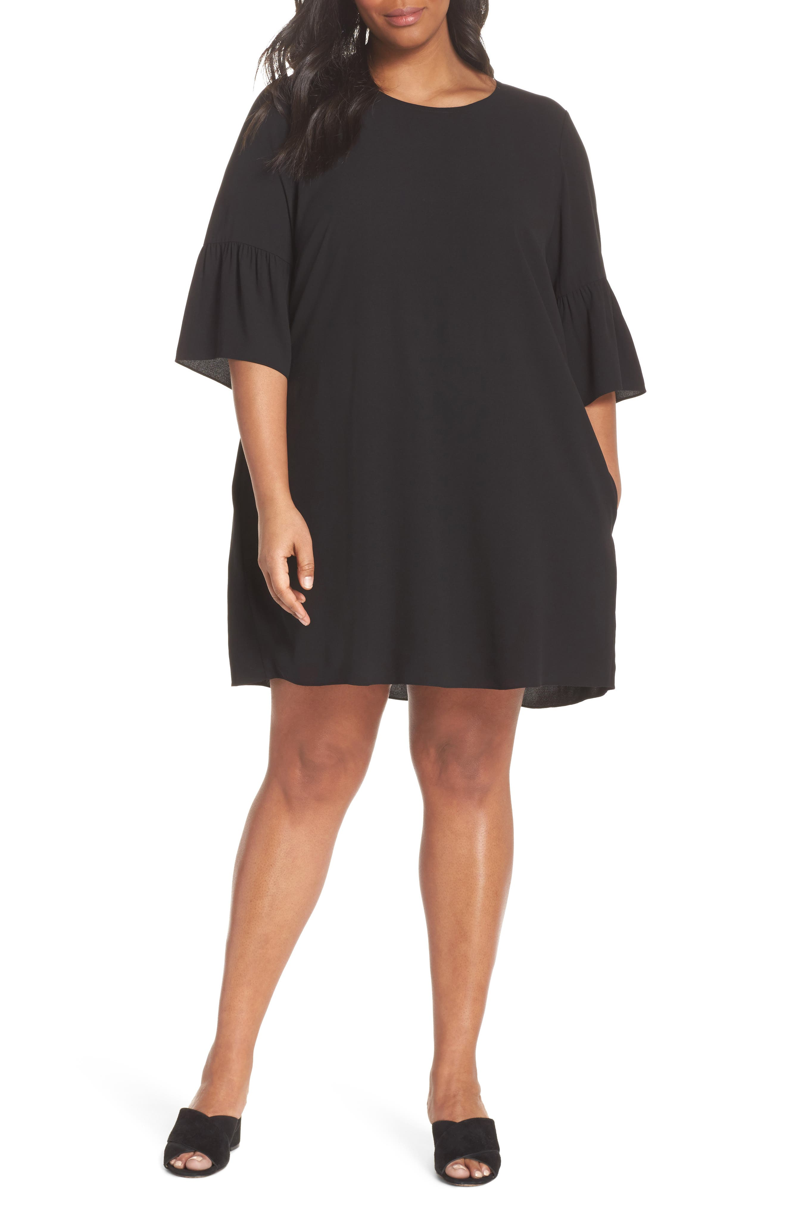 Flare Sleeve Silk Shift Dress,                         Main,                         color, 001