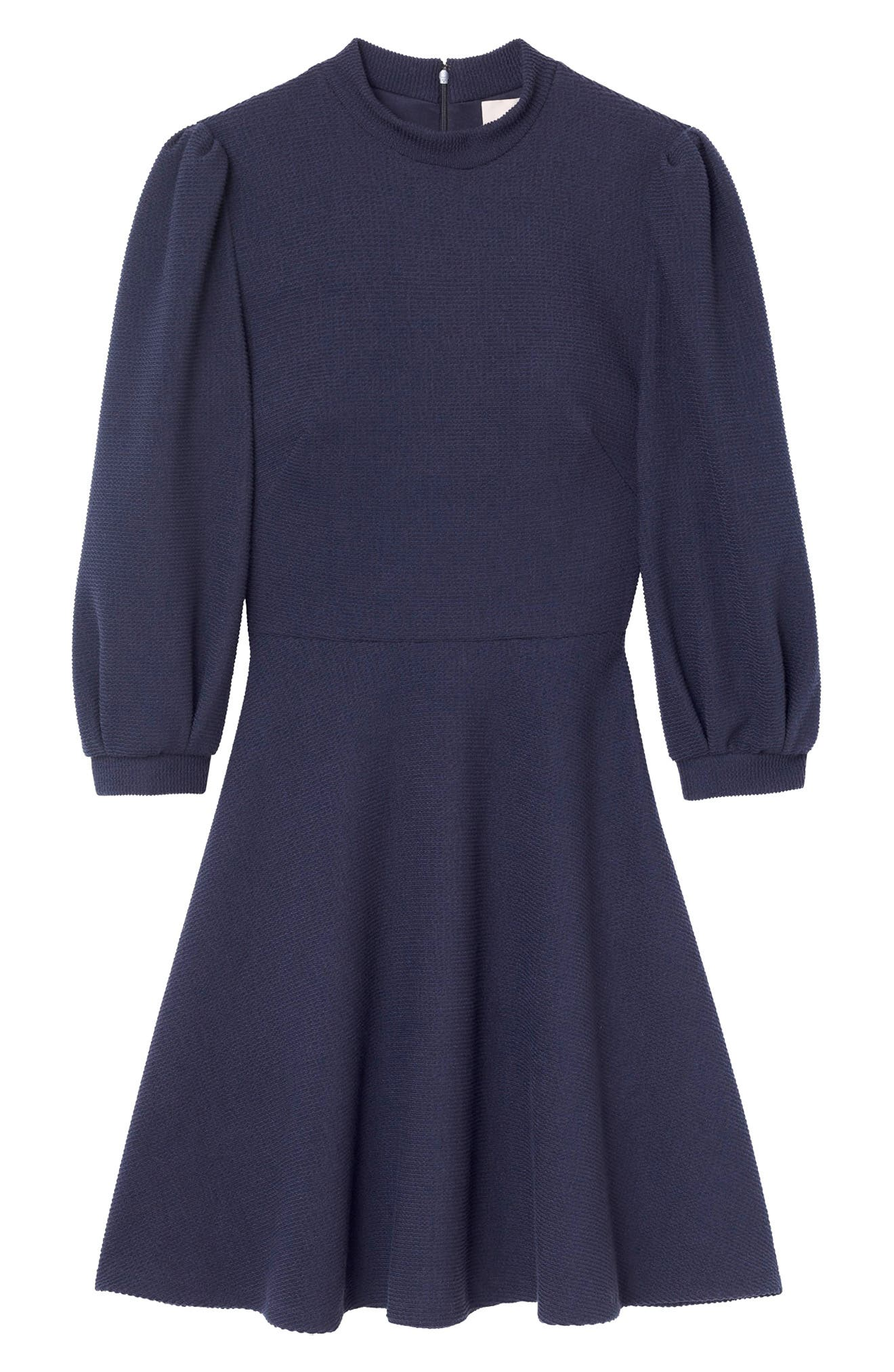 Maggie Texture Knit Fit & Flare Dress,                             Alternate thumbnail 4, color,                             NAVY
