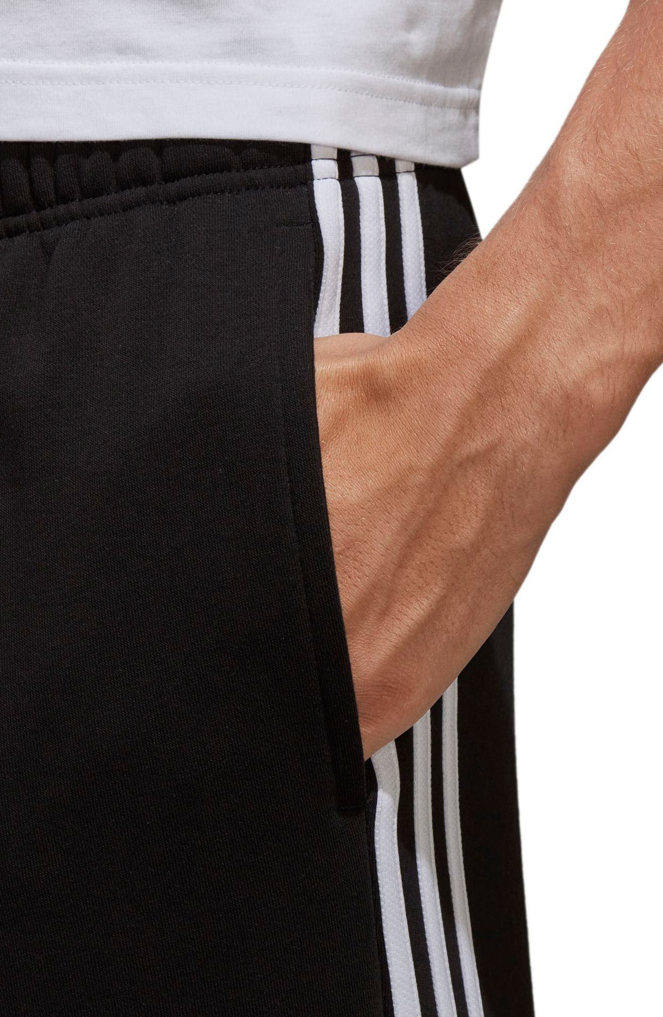 ADIDAS,                             Essentials French Terry Shorts,                             Alternate thumbnail 8, color,                             BLACK/ WHITE