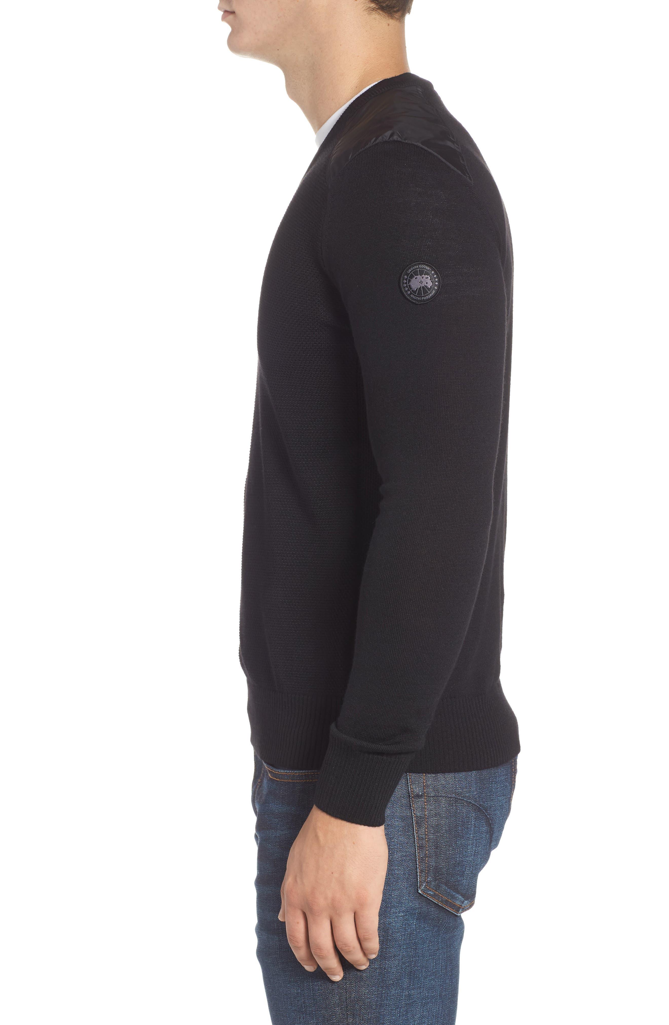 McLeod V-Neck Regular Fit Merino Wool Sweater,                             Alternate thumbnail 3, color,                             BLACK