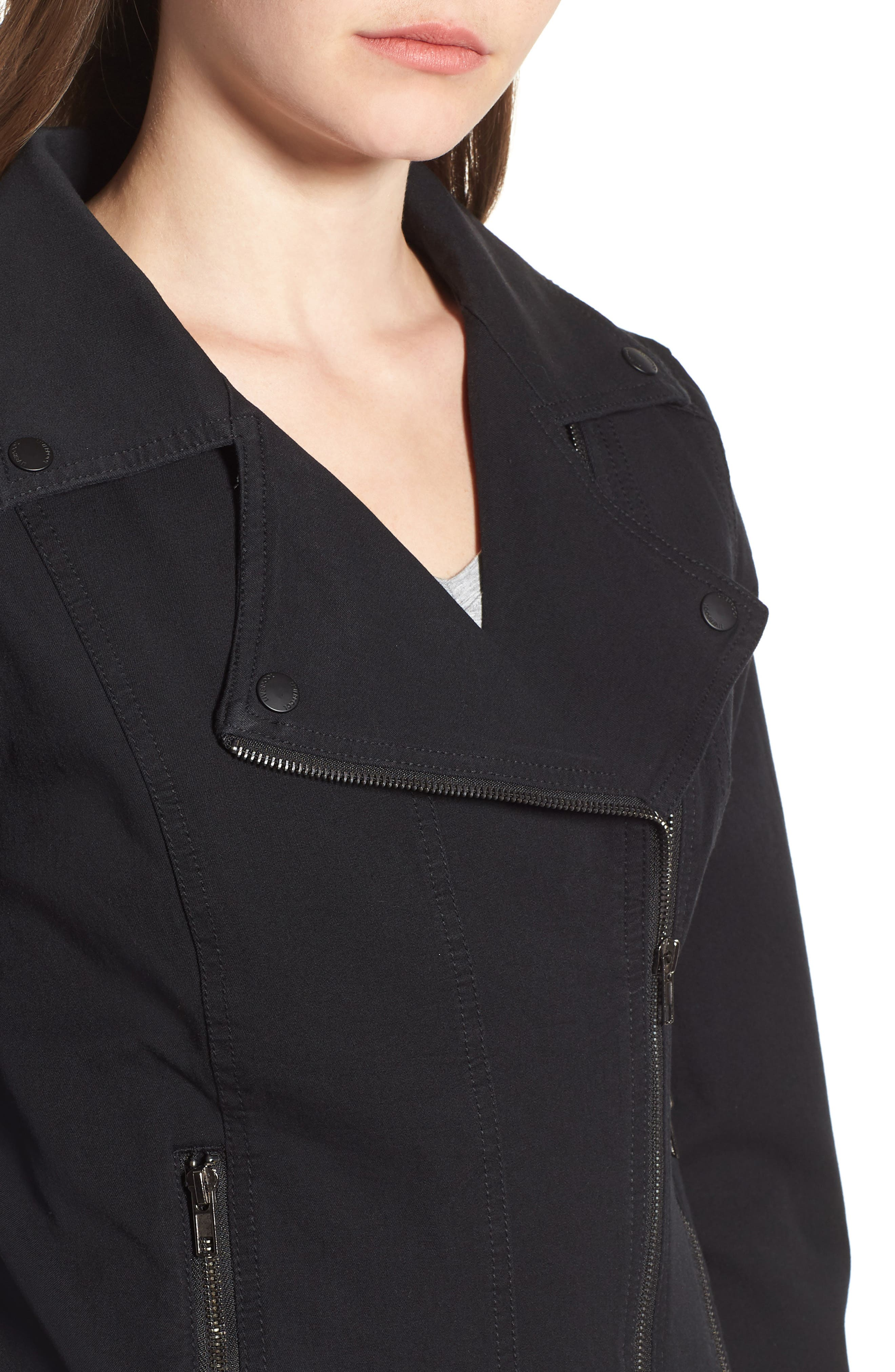 Stretch Cotton Moto Jacket,                             Alternate thumbnail 4, color,                             BLACK