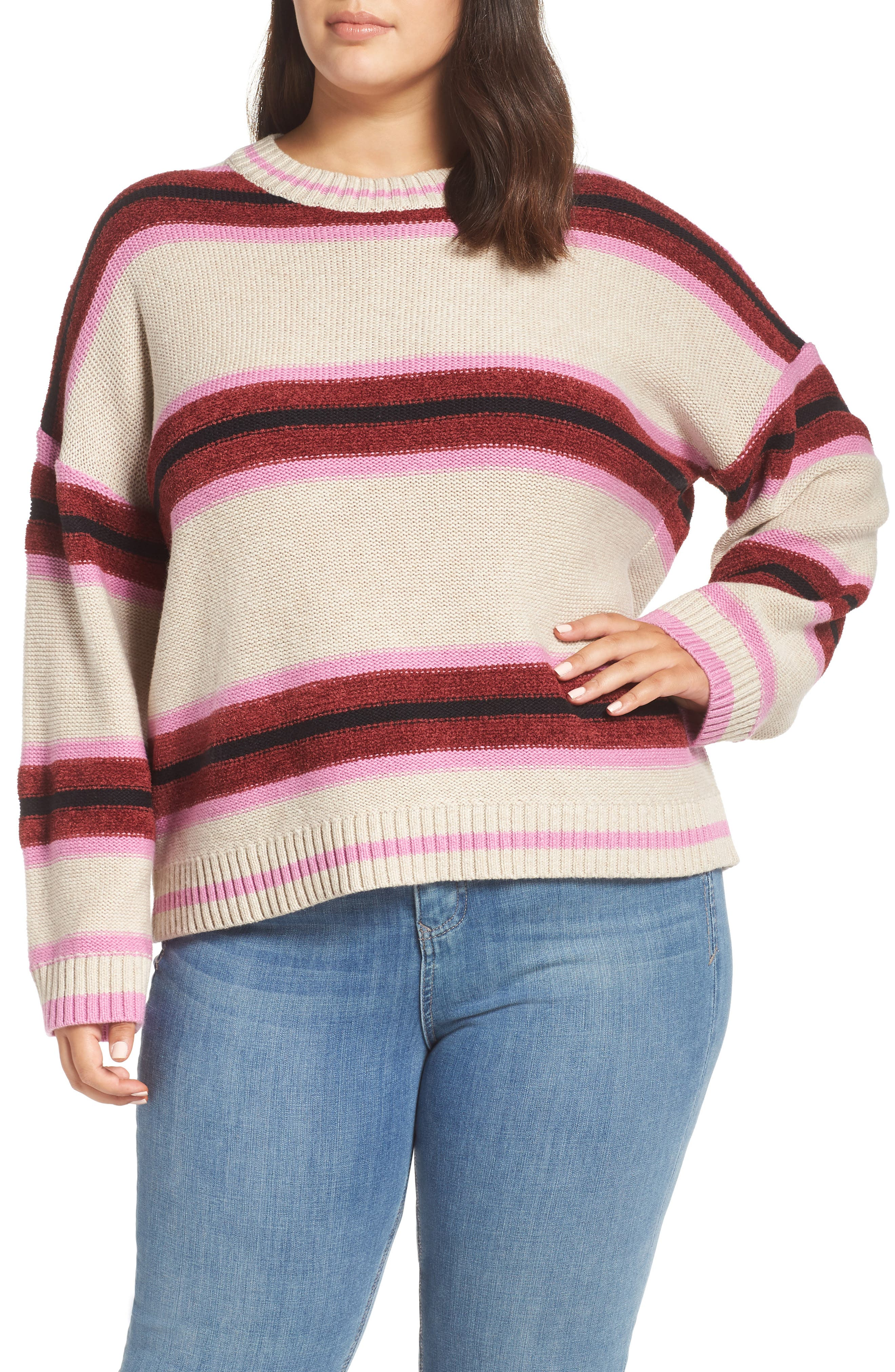 Everyday Stripe Sweater,                         Main,                         color, BEIGE HEATHER ROBYN STRIPE