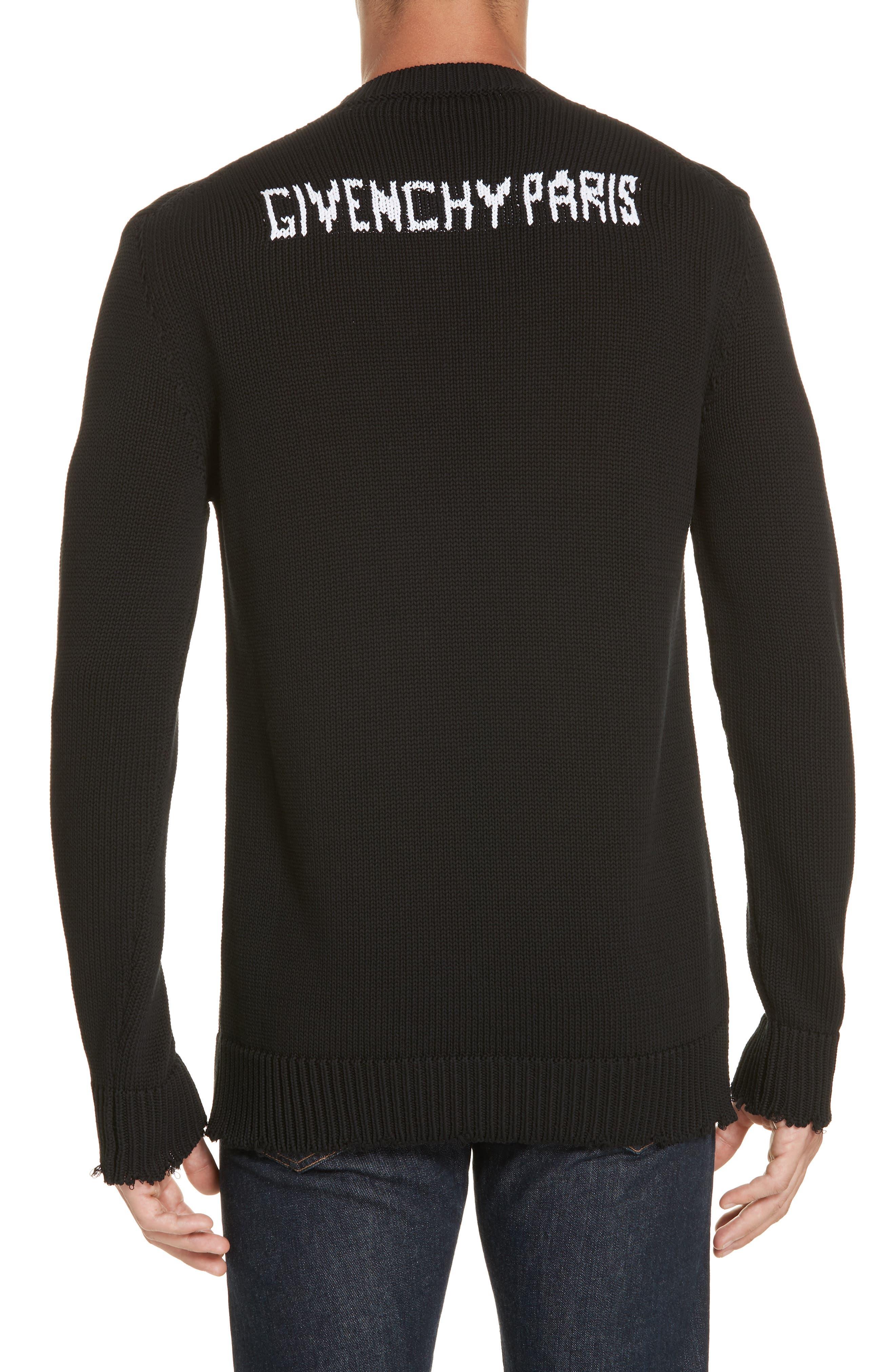 Logo Cotton Sweater,                             Alternate thumbnail 2, color,                             BLACK/ WHITE