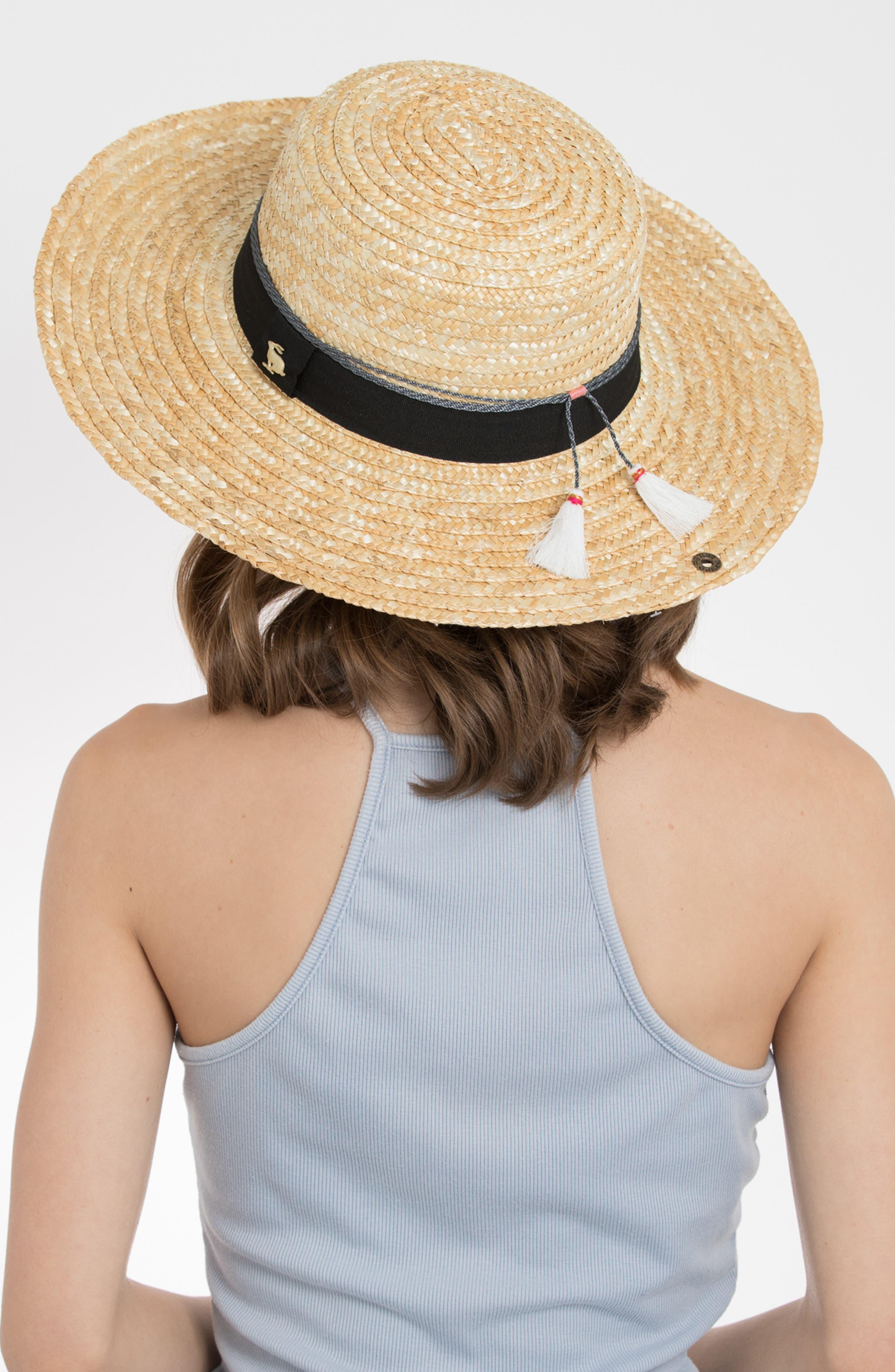 Teresa Wheat Straw Resort Hat,                             Alternate thumbnail 3, color,                             NATURAL