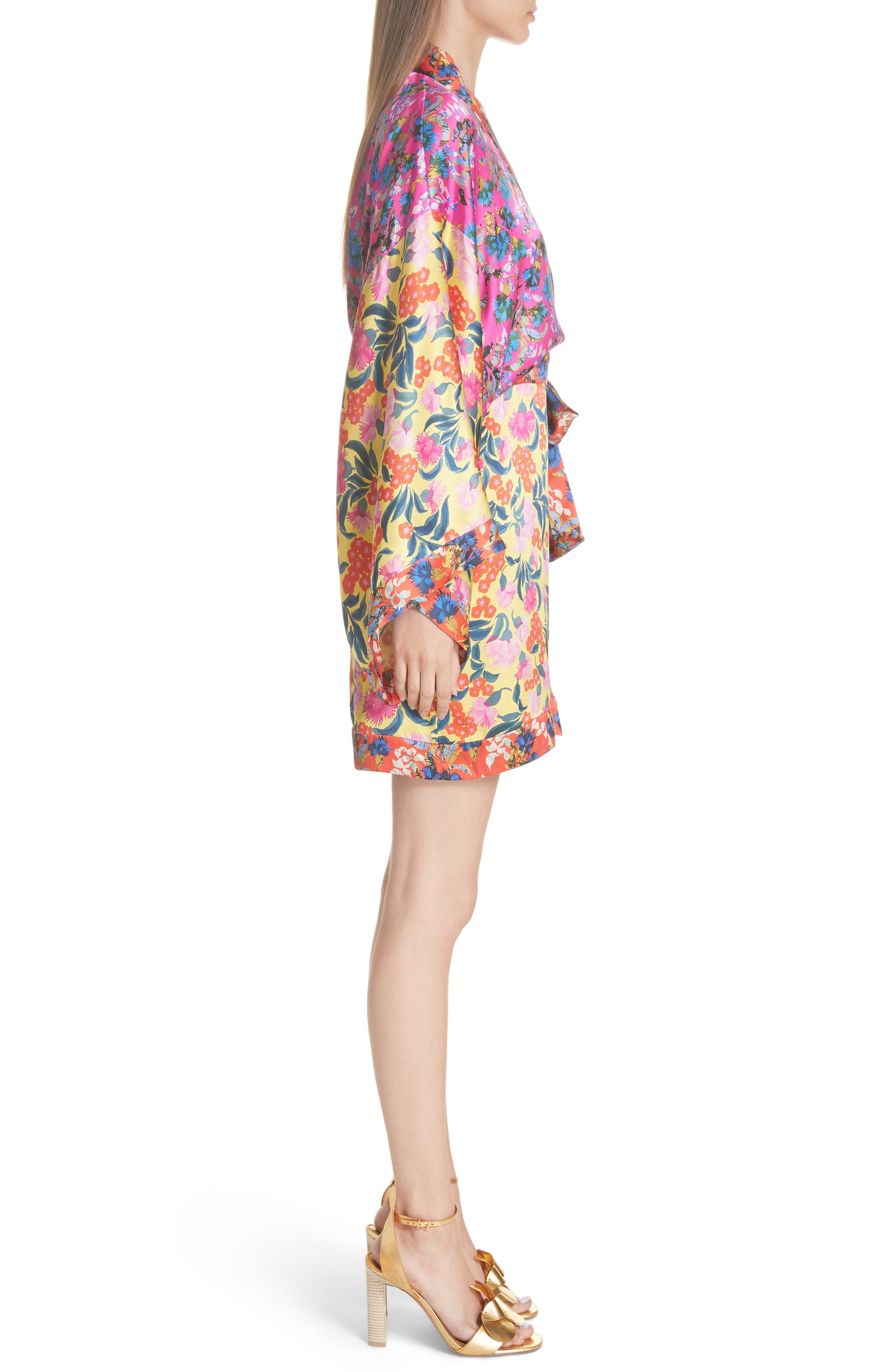 Suki Mixed Floral Silk Wrap Dress,                             Alternate thumbnail 3, color,                             YELLOW AZALEA