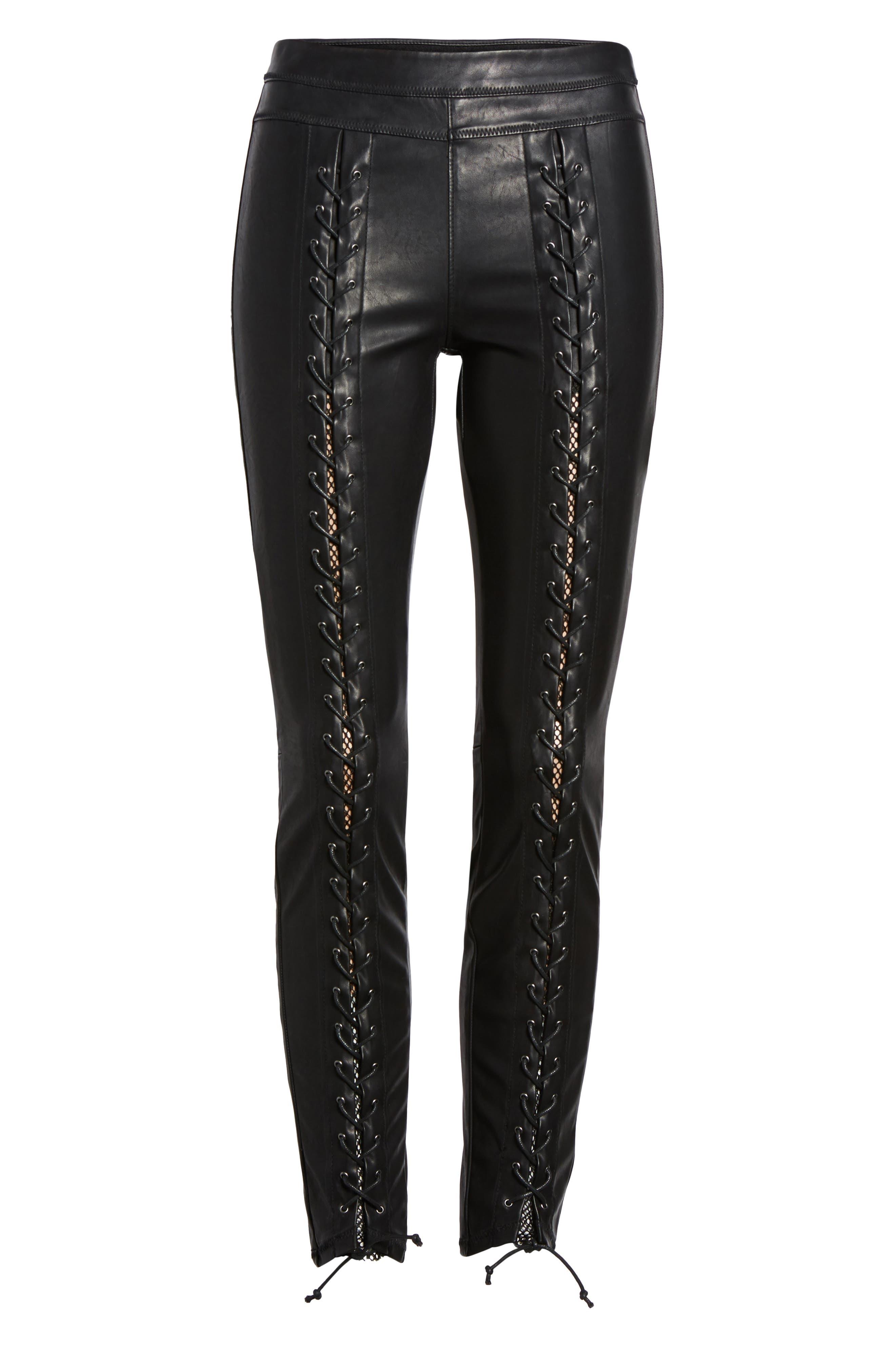 Lace-Up Faux Leather Pants,                             Alternate thumbnail 6, color,                             007