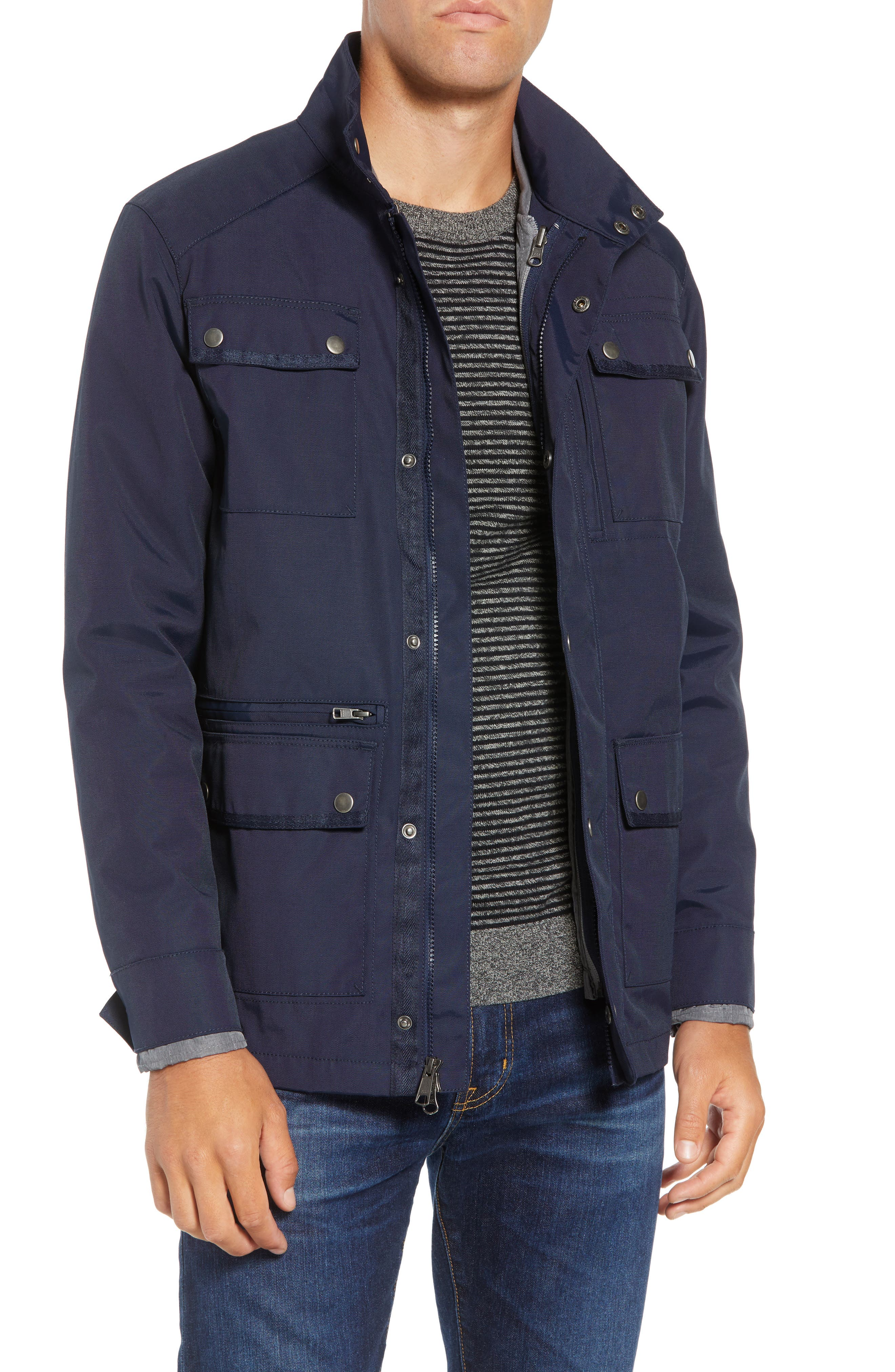 'Ethan' 3-in-1 Field Jacket,                             Main thumbnail 1, color,                             NAVY