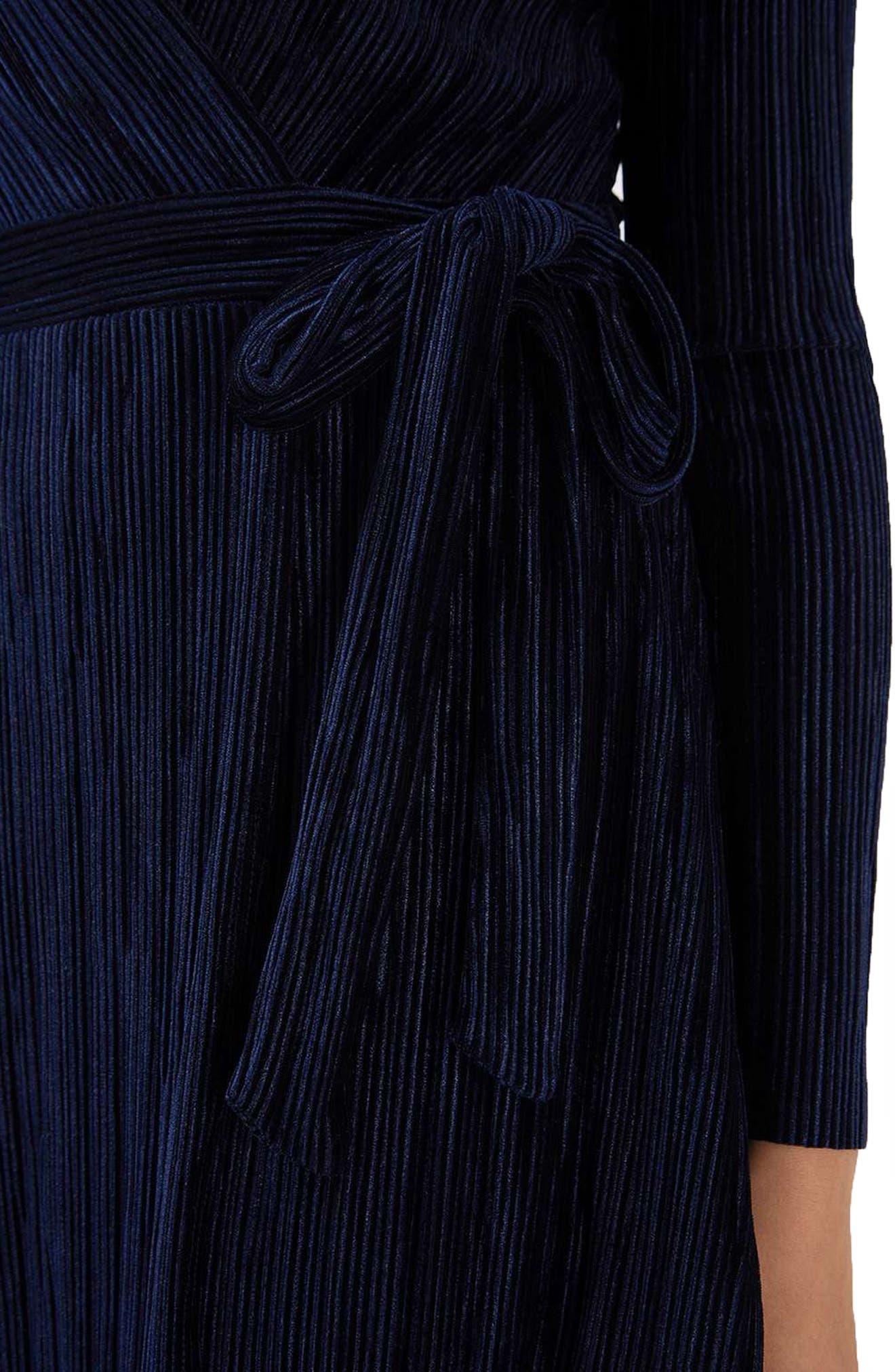 Velvet Wrap Dress,                             Alternate thumbnail 4, color,                             410