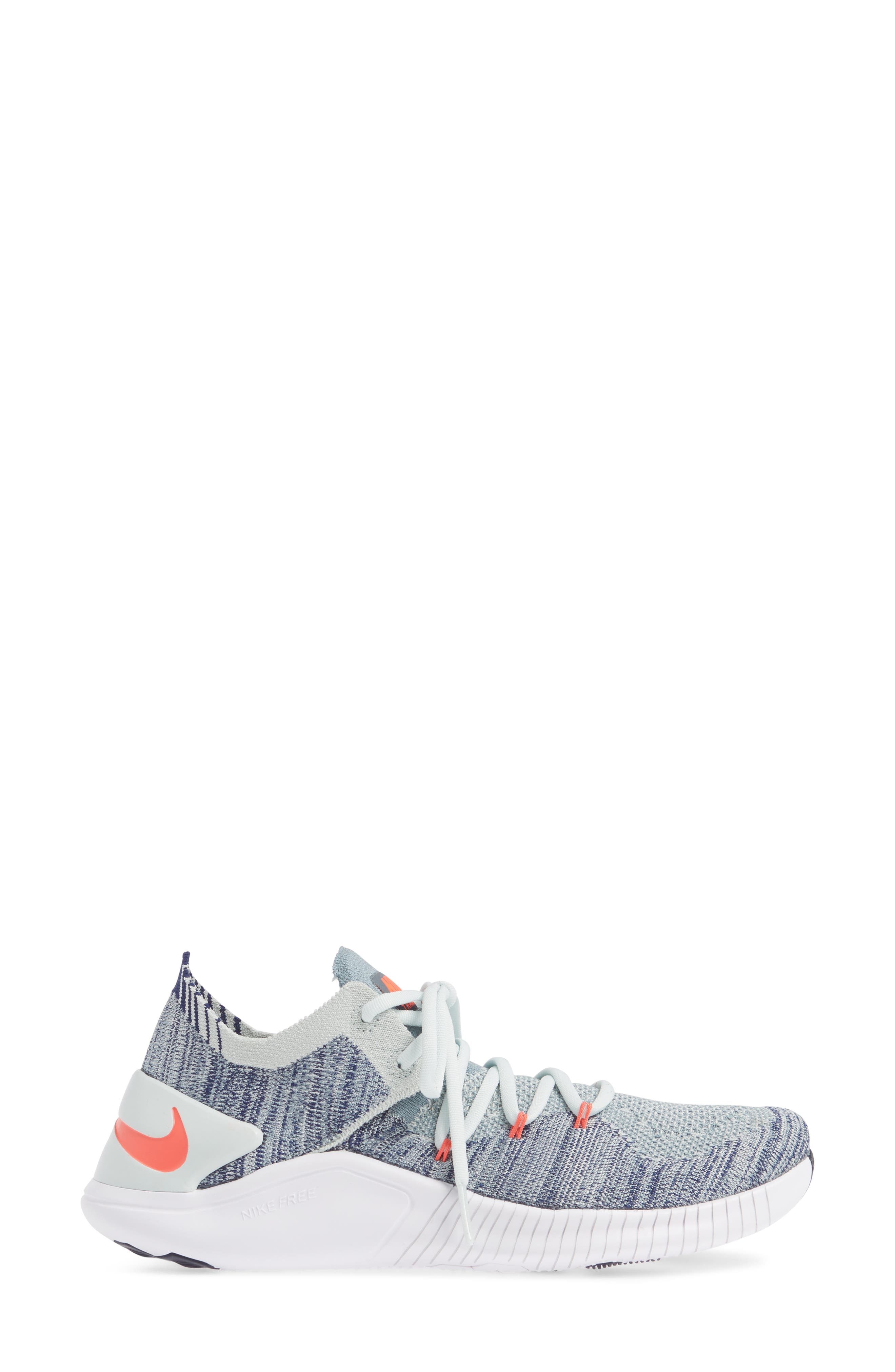 Free TR Flyknit 3 Training Shoe,                             Alternate thumbnail 3, color,                             BARELY GREY/ EMBER GLOW/ BLUE