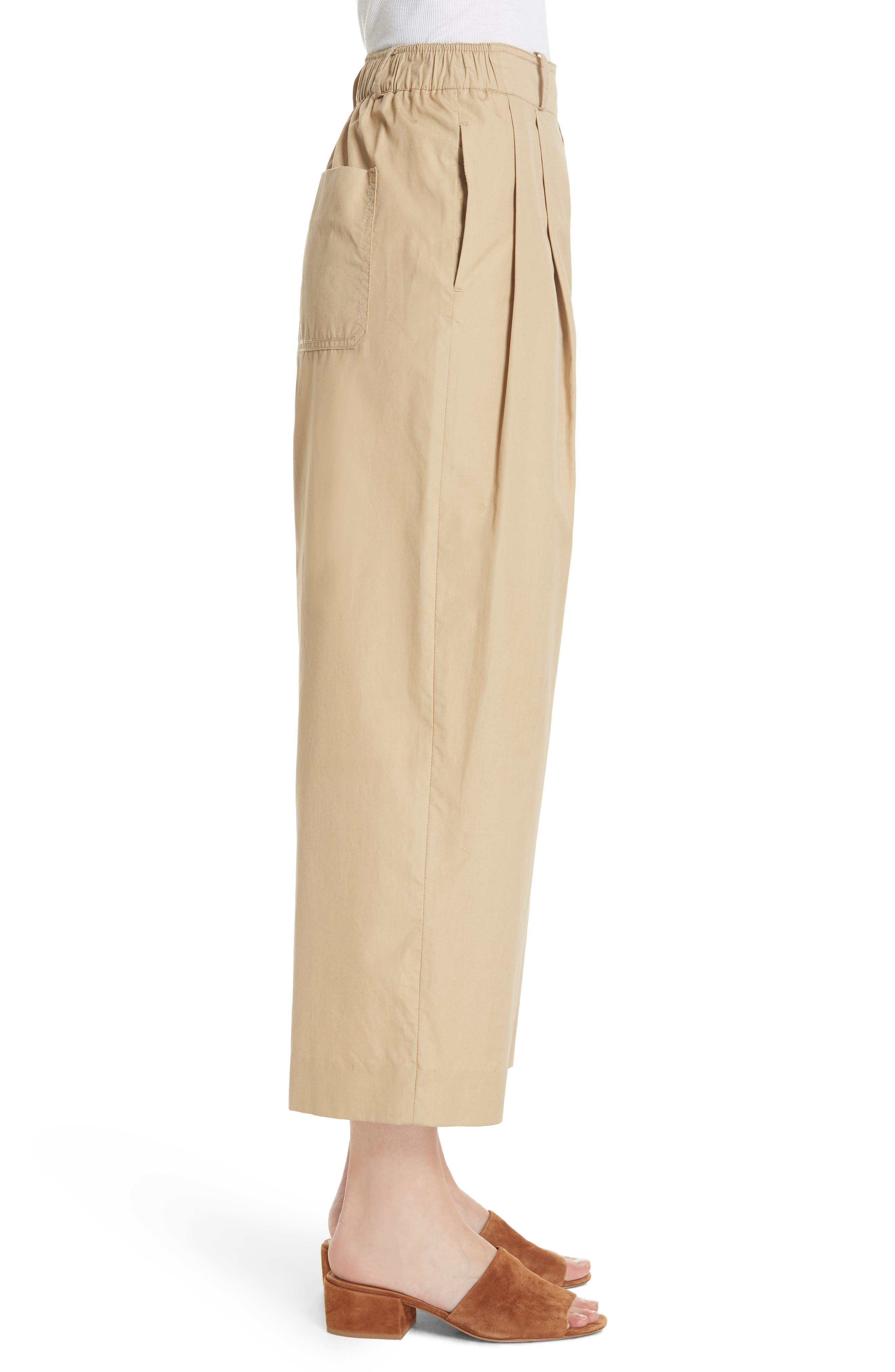 Wide Leg Polished Cotton Pants,                             Alternate thumbnail 3, color,                             KHAKI
