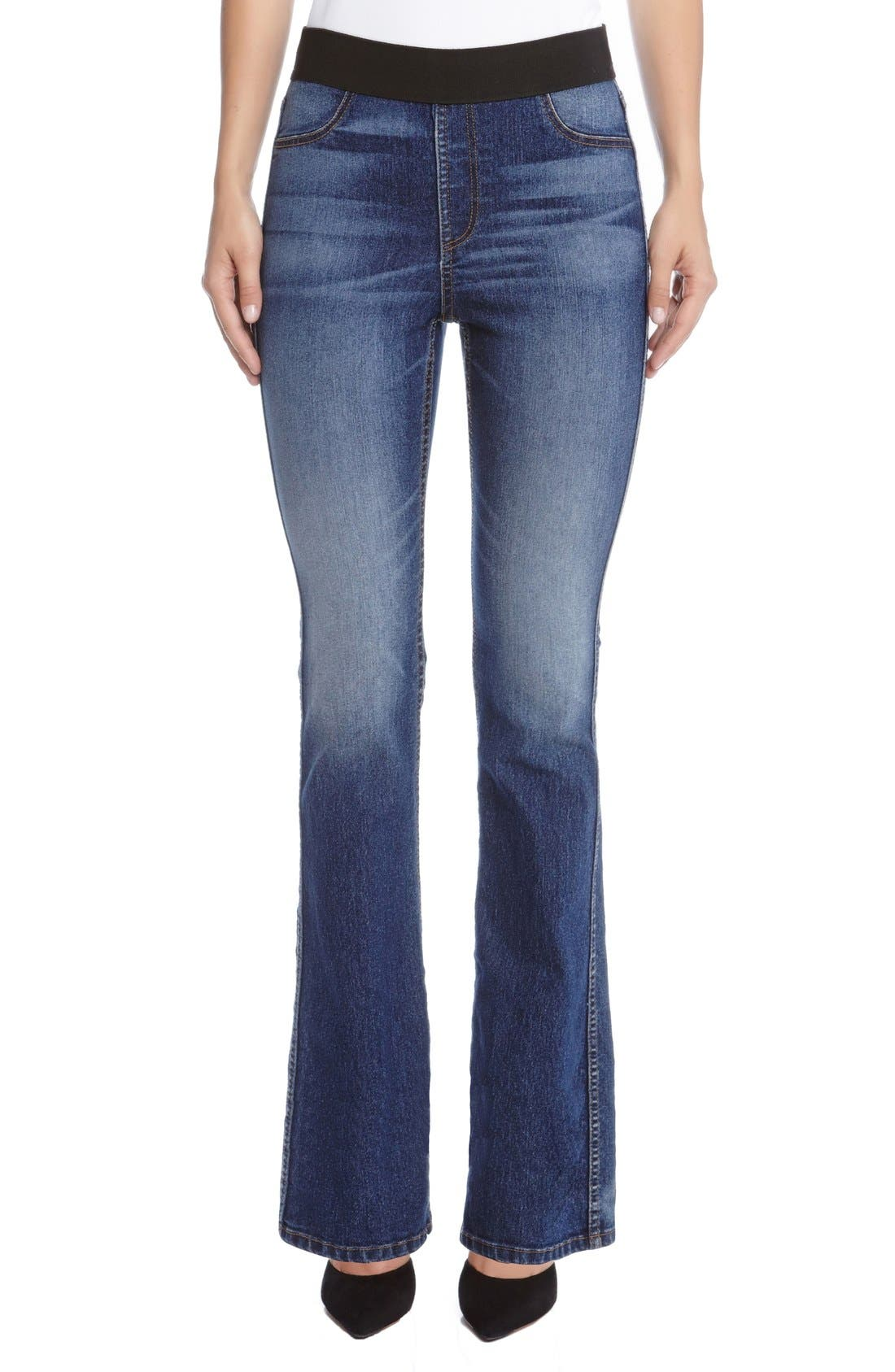 Pull-On Stretch Bootcut Jeans,                         Main,                         color, BLUE