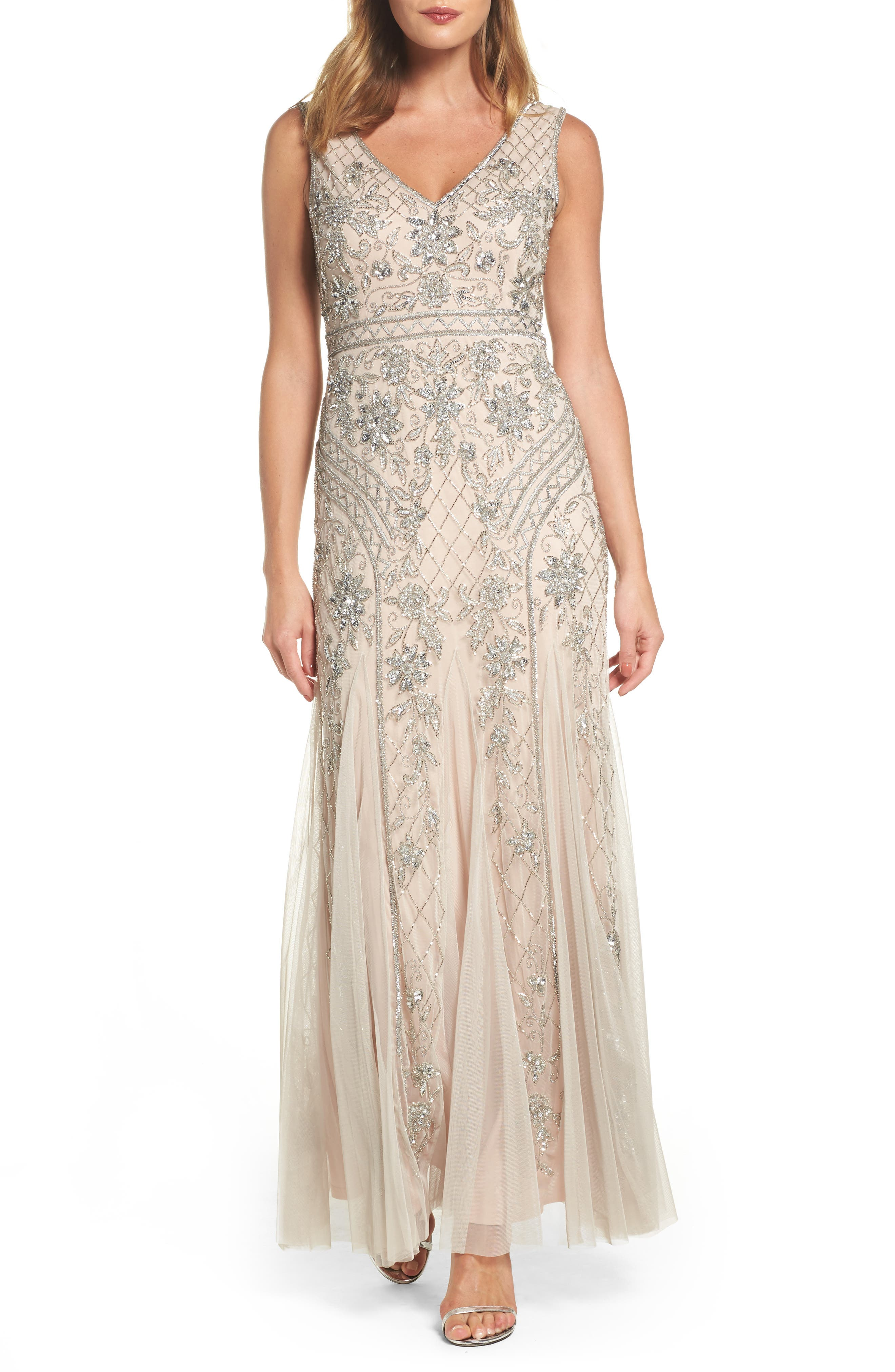 Beaded Double V-Neck Gown,                             Main thumbnail 1, color,                             040