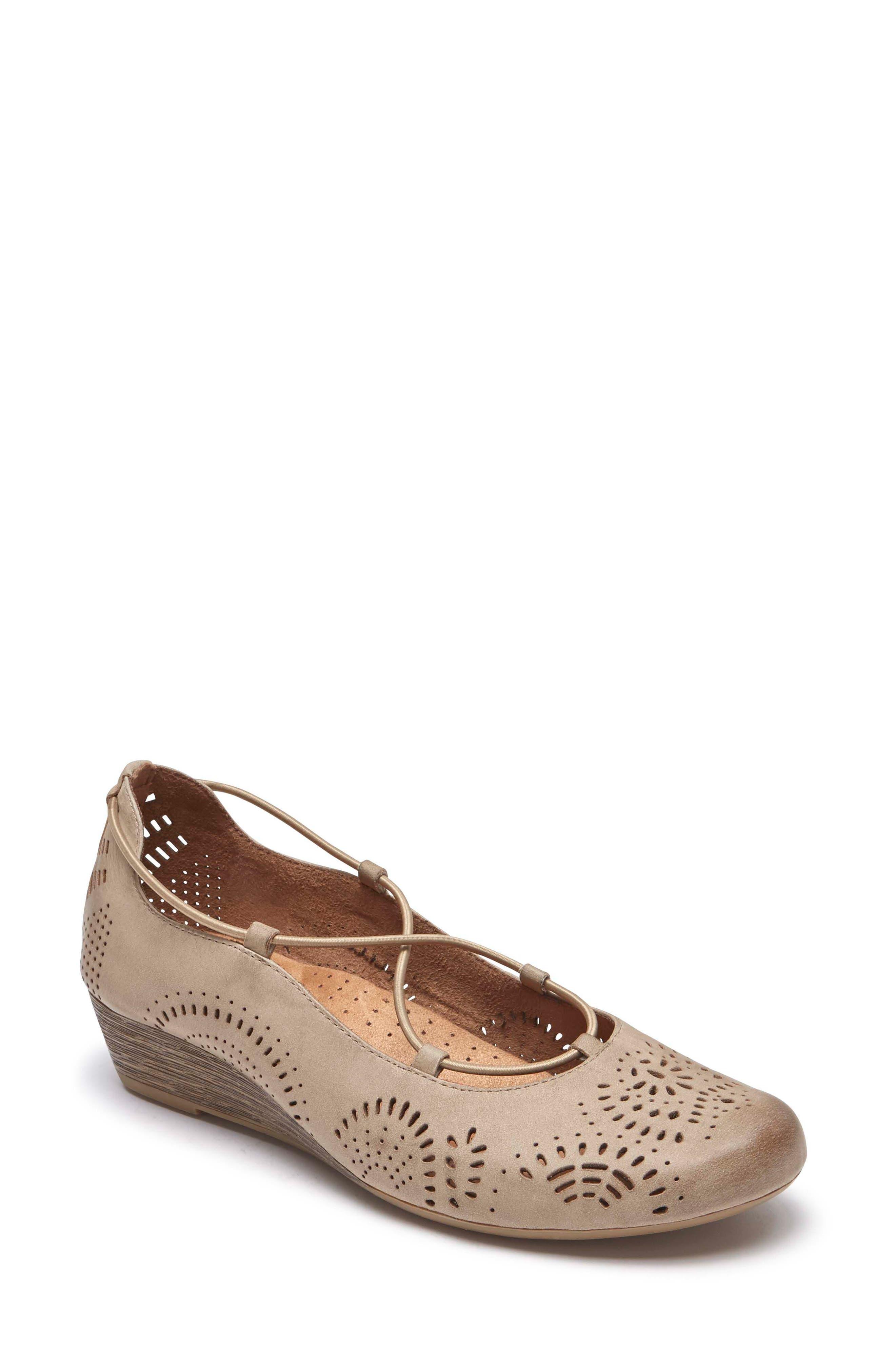 Janna Cross Strap Wedge Sandal,                             Main thumbnail 4, color,