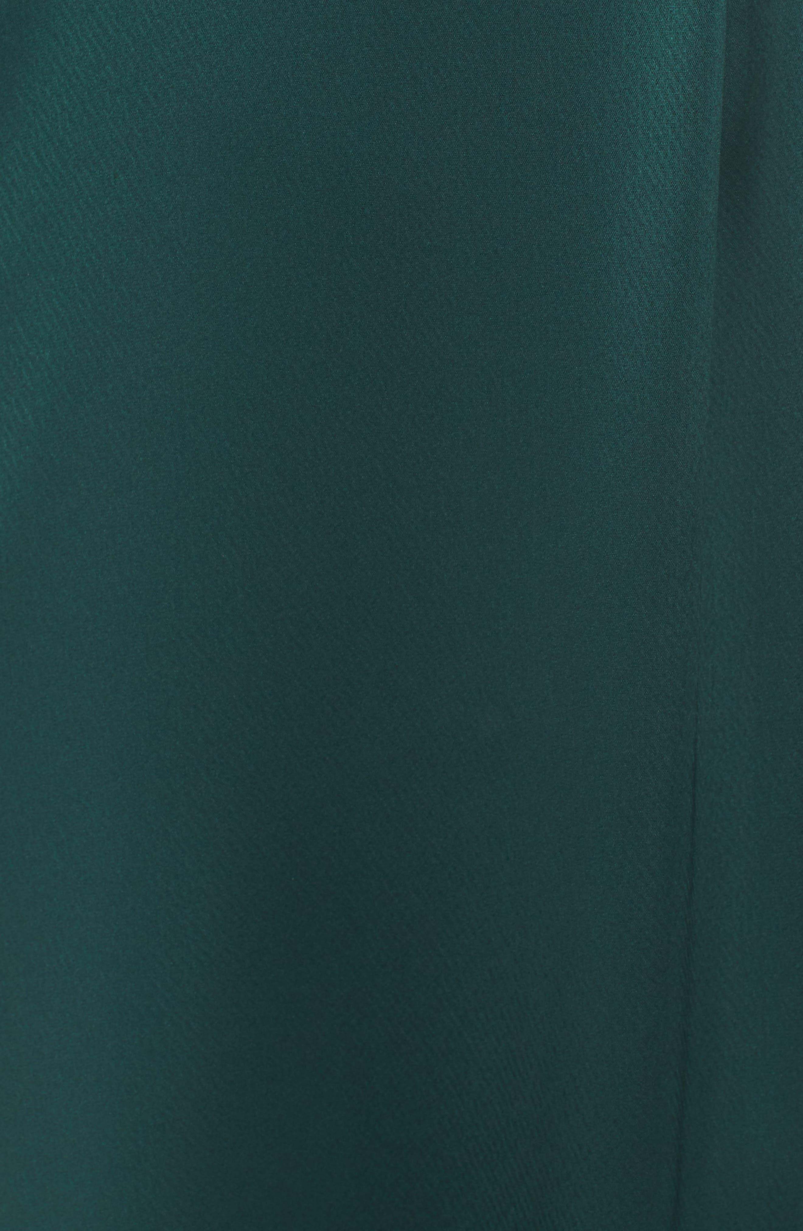 Faux Wrap Satin Gown,                             Alternate thumbnail 5, color,                             SPRUCE