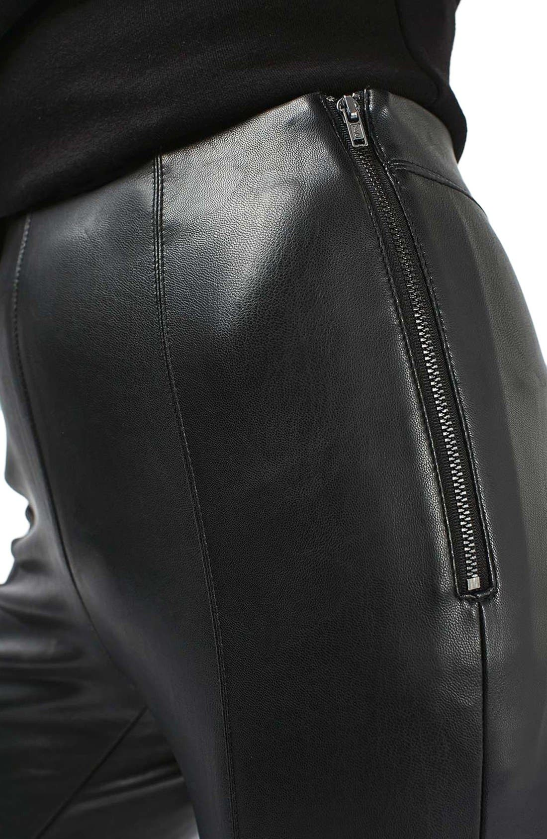 Percy Faux Leather Skinny Pants,                             Alternate thumbnail 4, color,                             001