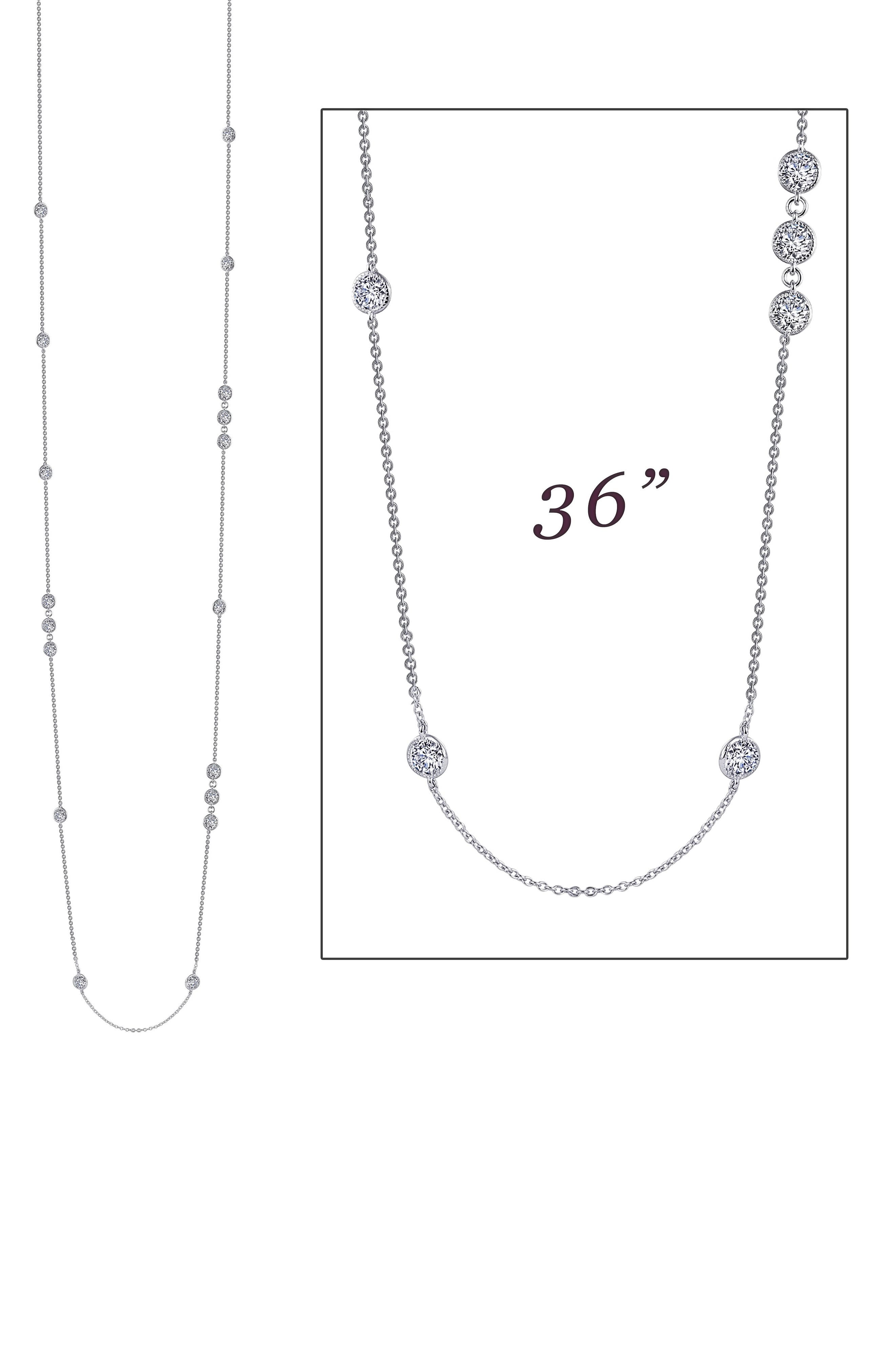 Long Simulated Diamond Station Necklace,                             Alternate thumbnail 4, color,                             SILVER