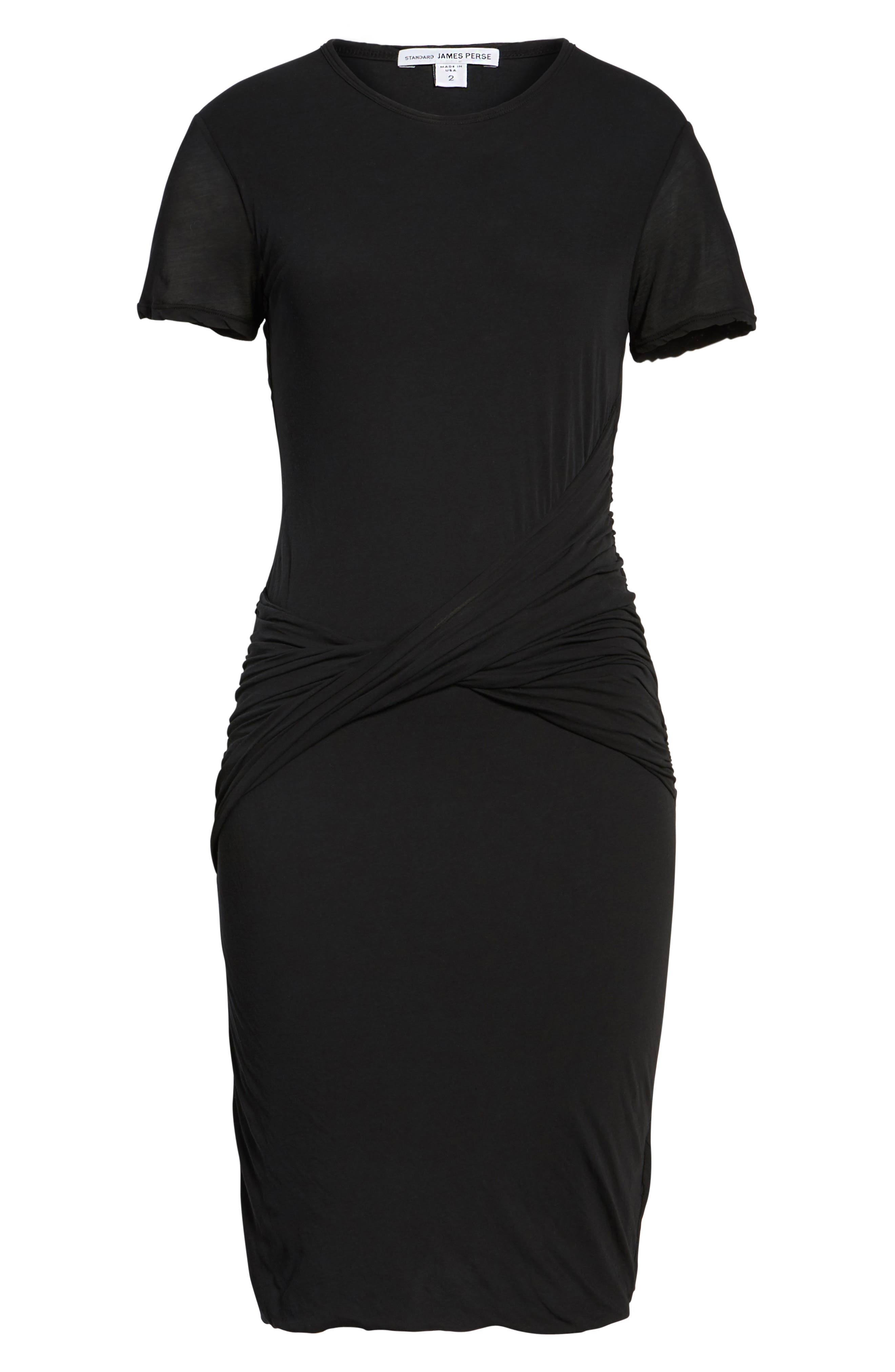 Twisted Drape T-Shirt Dress,                             Alternate thumbnail 6, color,                             001