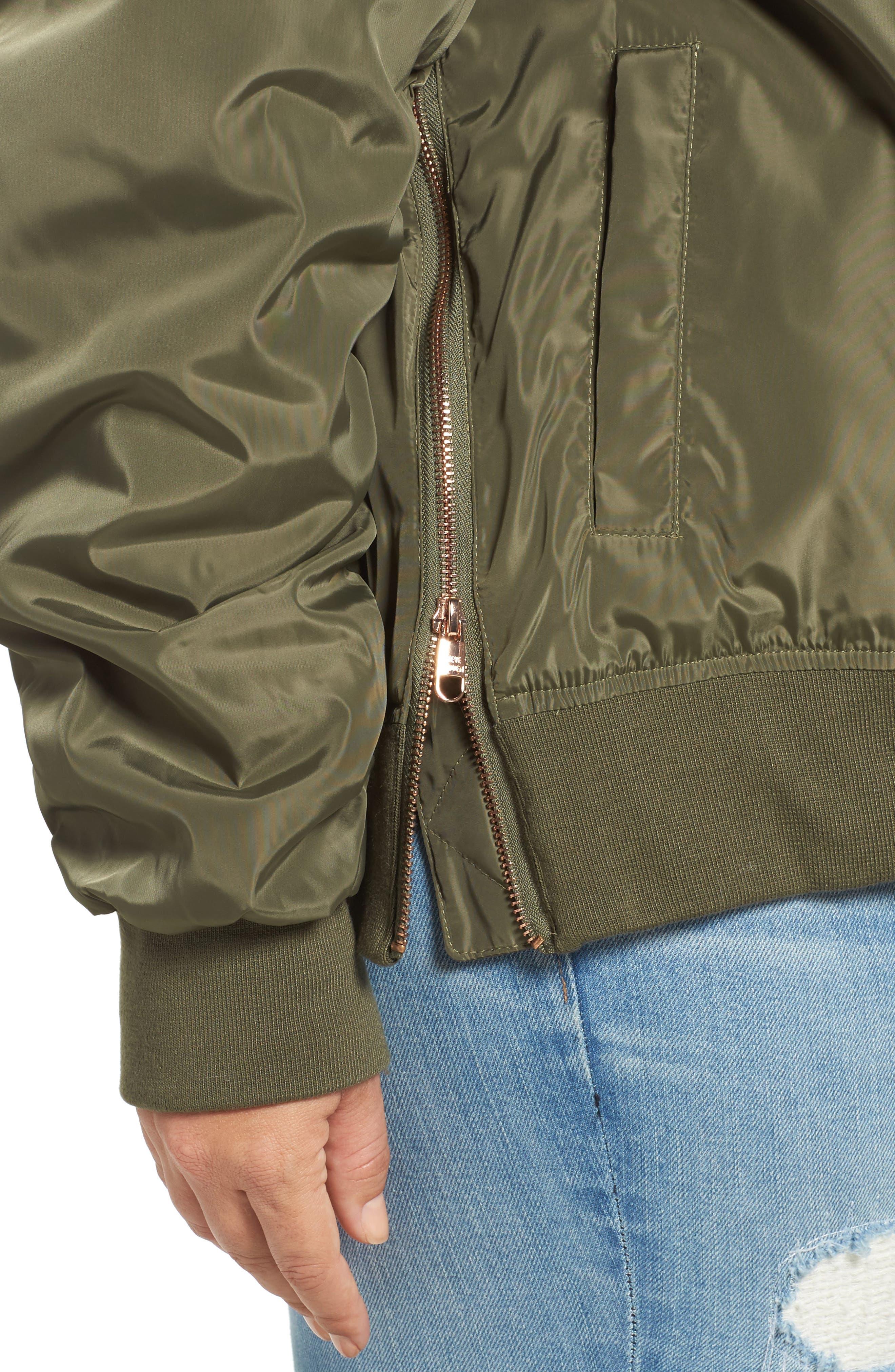 Side Zip Bomber Jacket,                             Alternate thumbnail 4, color,                             341