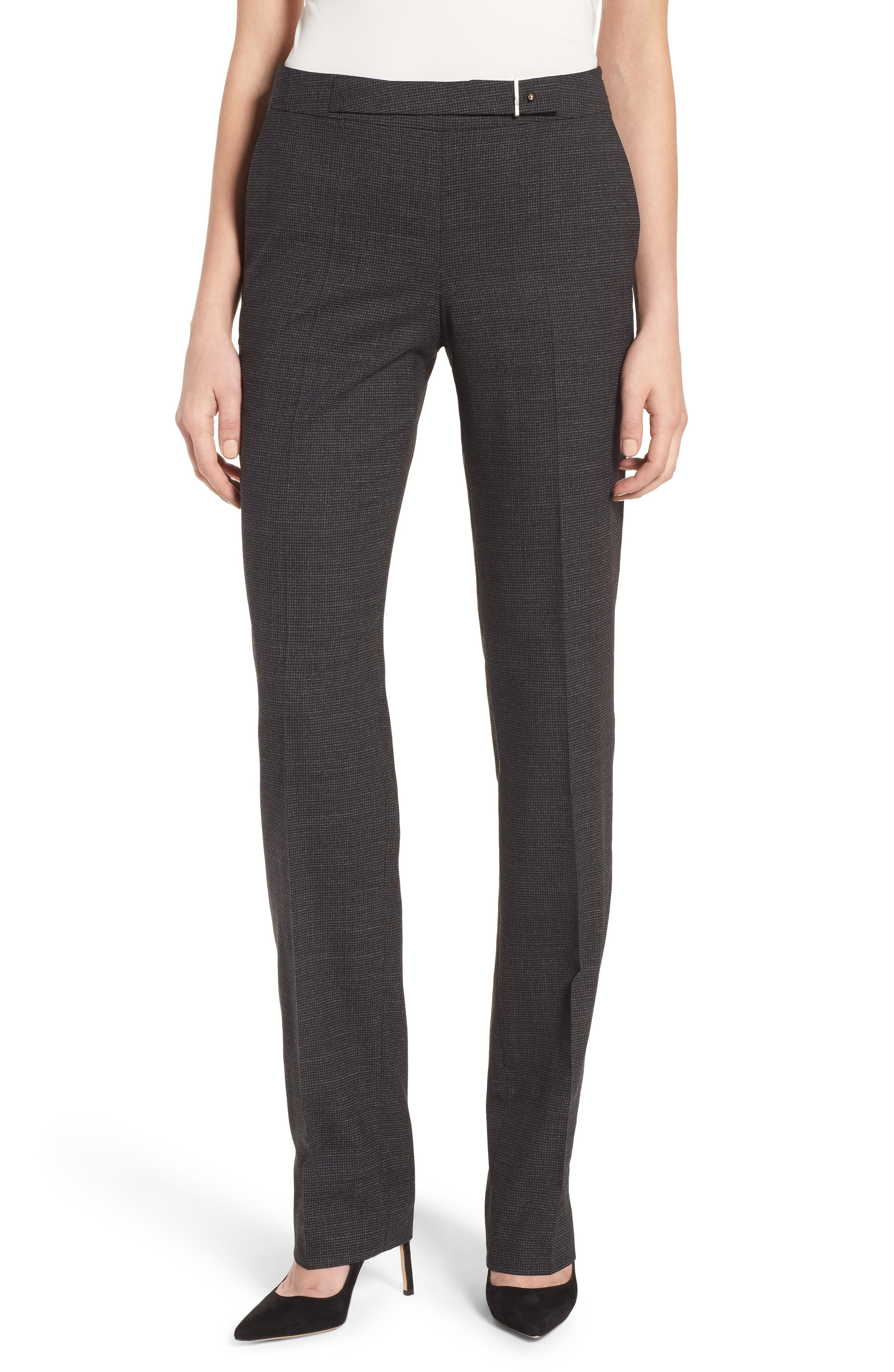Tafena Check Stretch Wool Pants,                         Main,                         color, 006