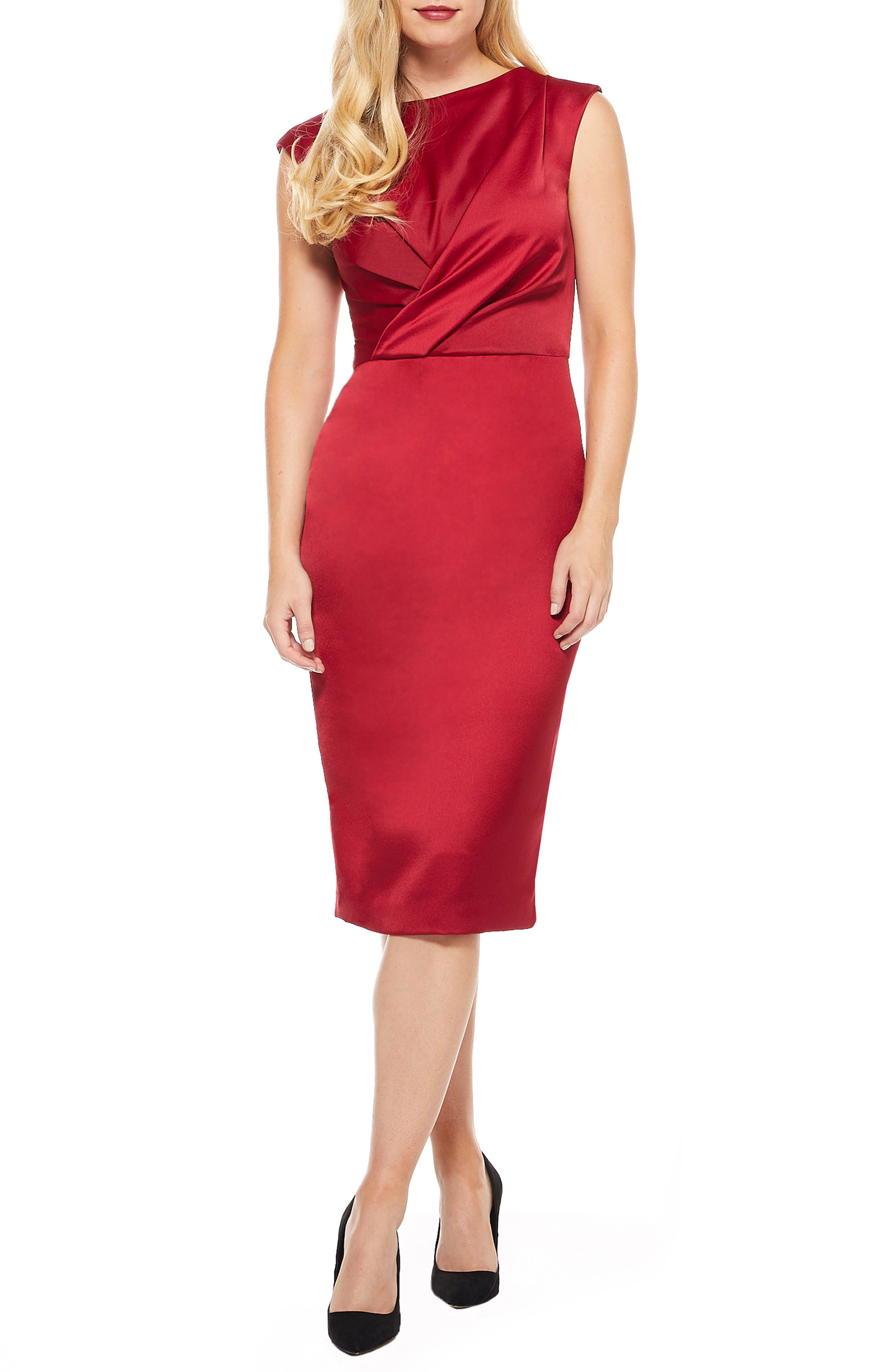 MAGGY LONDON Crossover Bodice Satin Midi Dress, Main, color, MAJESTIC SCARLET