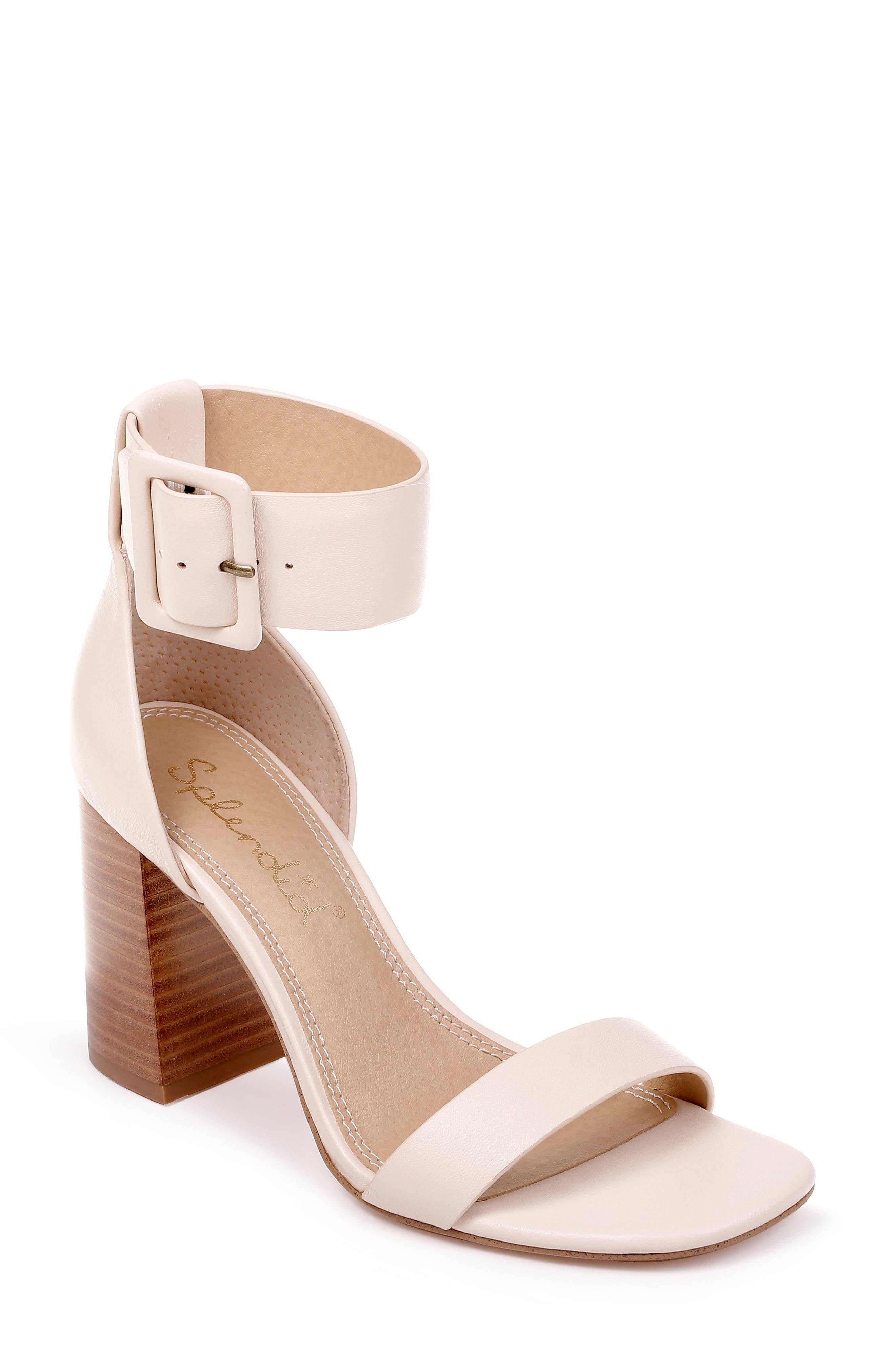 Block Heel Sandal, Main, color, CREAM LEATHER