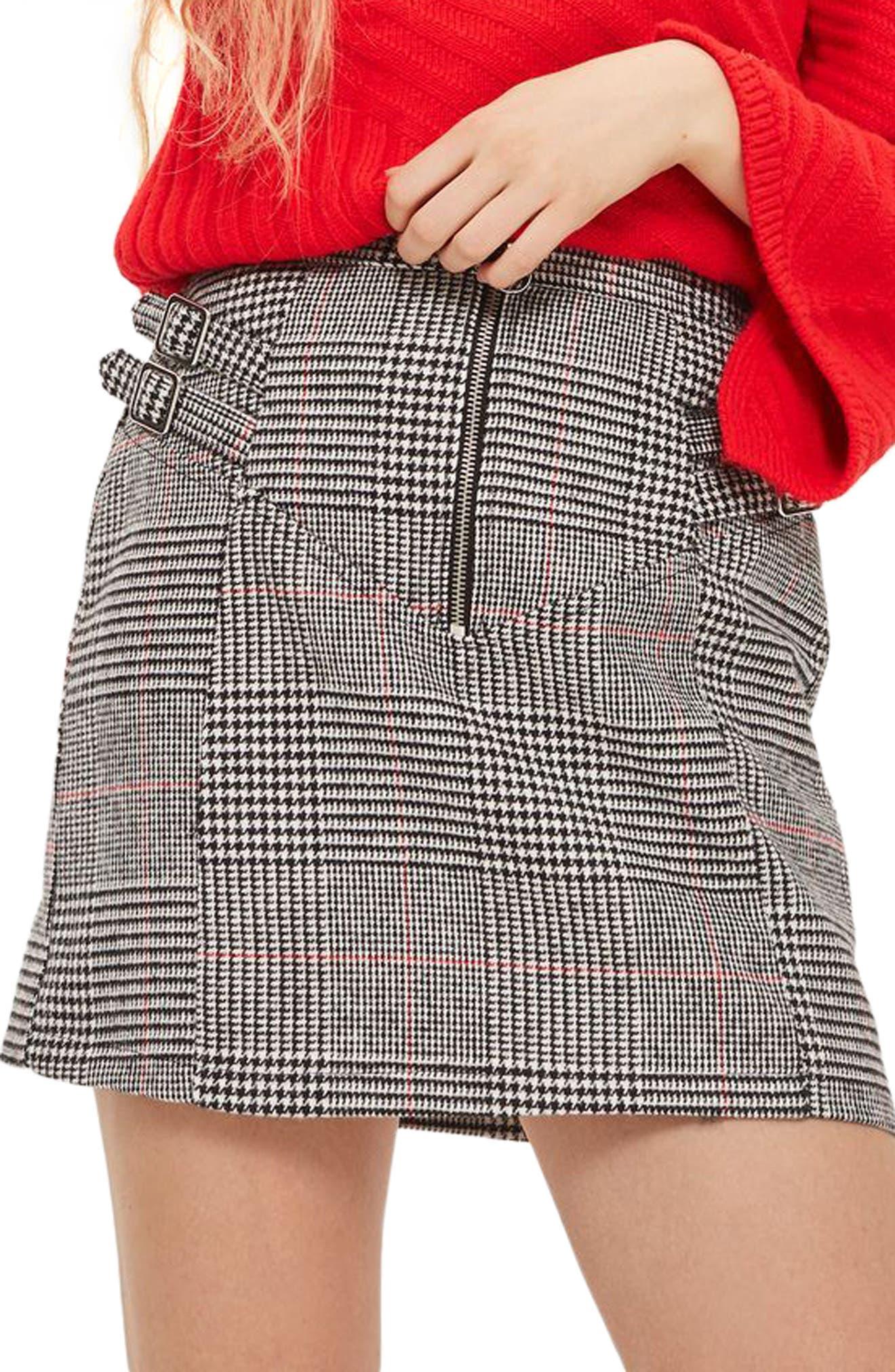 Side Buckle Check Miniskirt,                         Main,                         color, 001