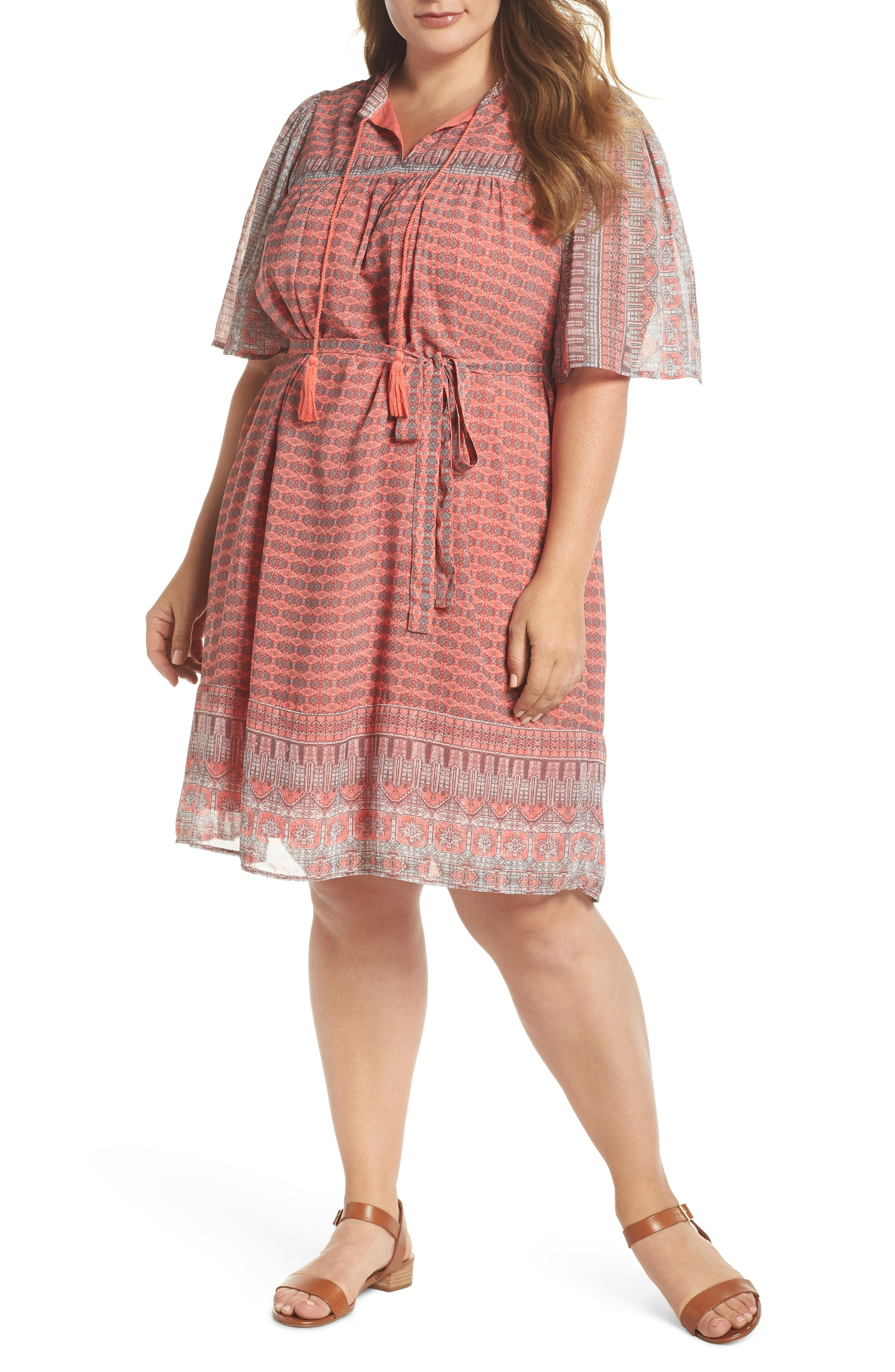 Plus Size Lucky Brand Jenna Print Peasant Dress, Coral