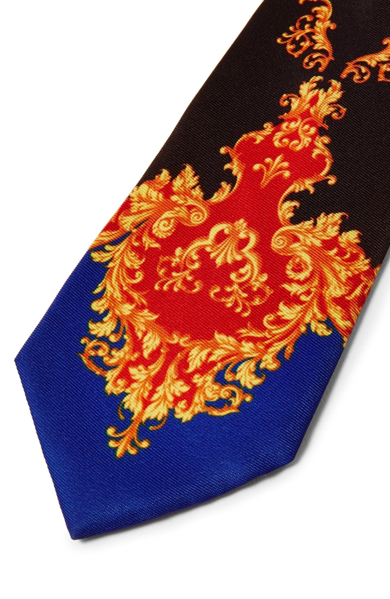 Baroque Print Tie,                             Alternate thumbnail 2, color,                             BLACK MULTI