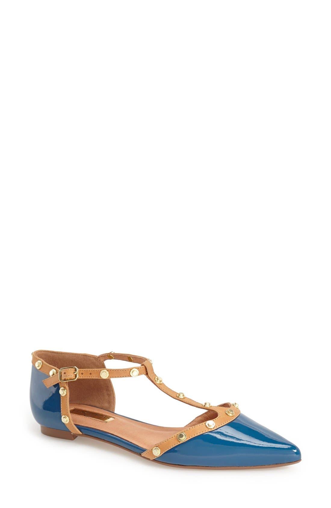 'Olson' Pointy Toe Studded T-Strap Flat,                             Main thumbnail 8, color,