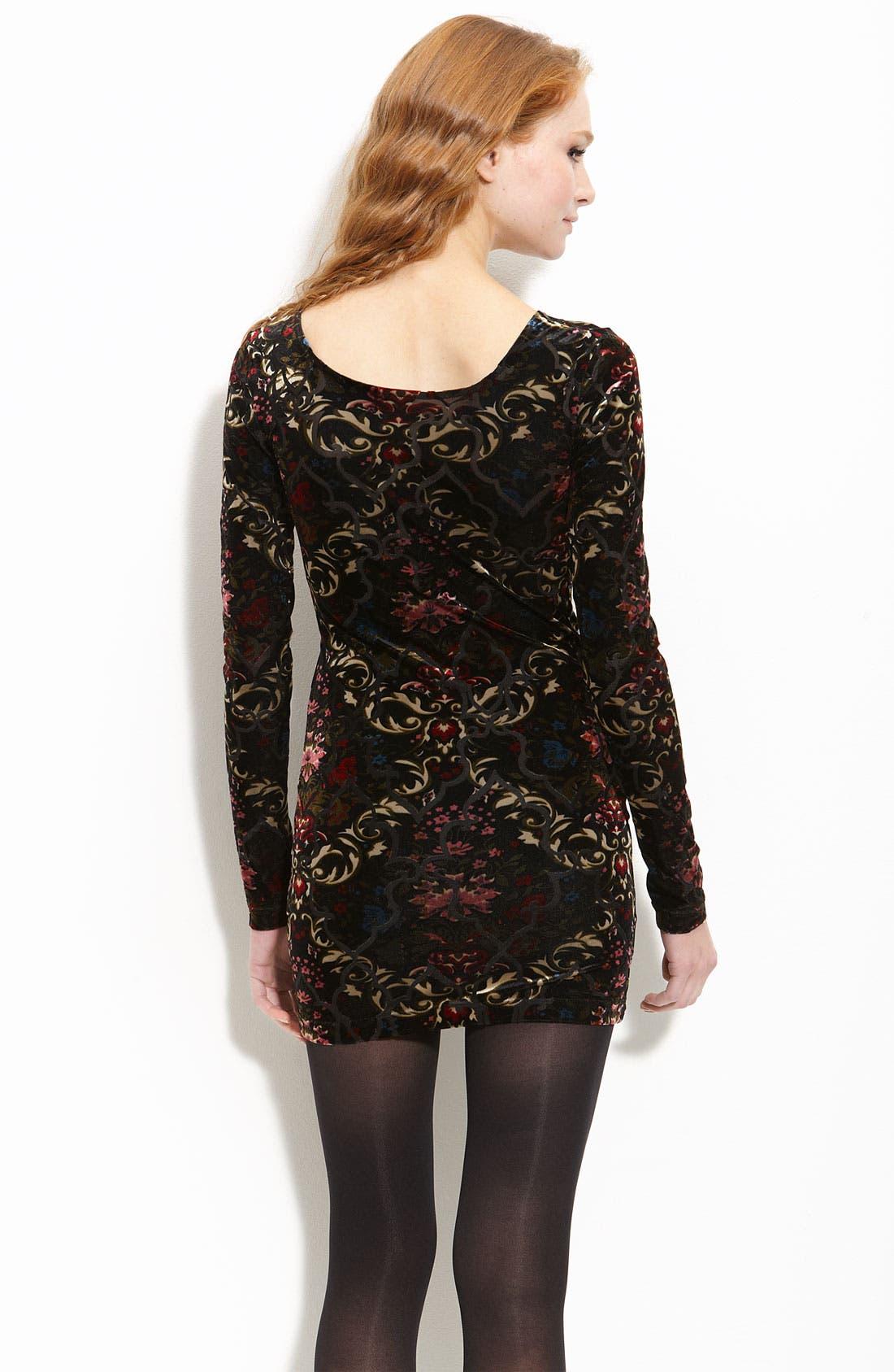 Burnout Velvet Dress,                             Alternate thumbnail 2, color,                             001
