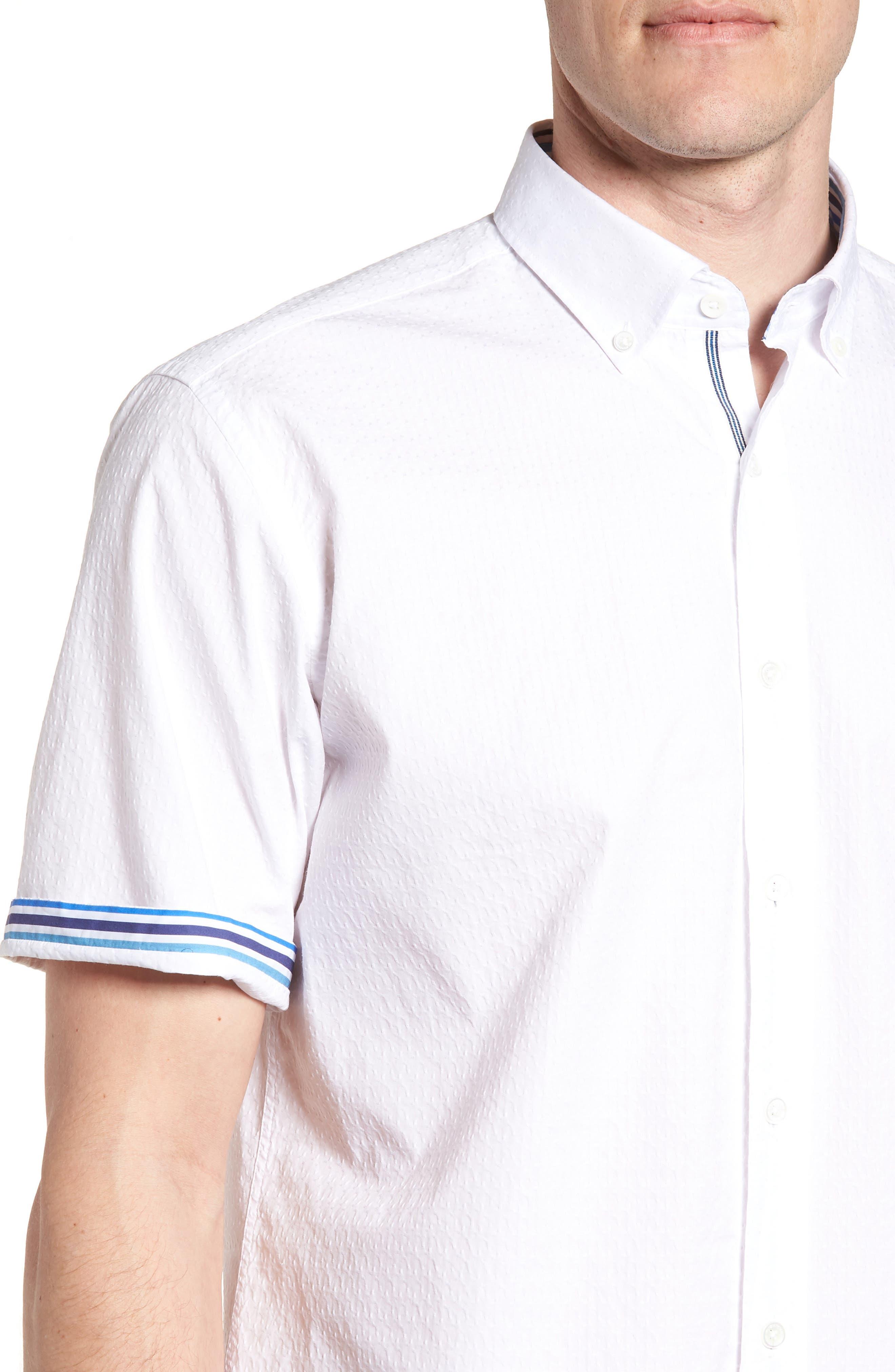 Classic Fit Textured Sport Shirt,                             Alternate thumbnail 4, color,                             WHITE