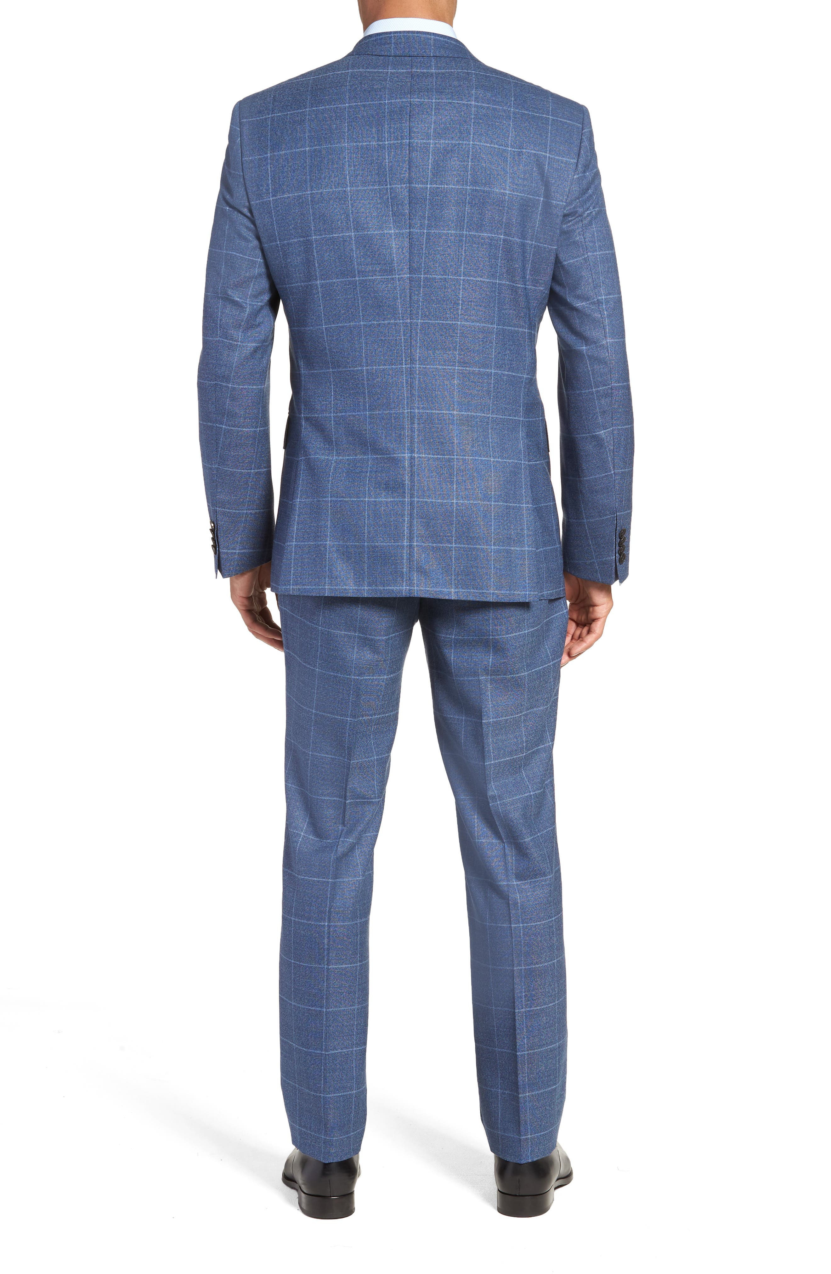 Huge/Genius Trim Fit Windowpane Wool Suit,                             Alternate thumbnail 2, color,                             400