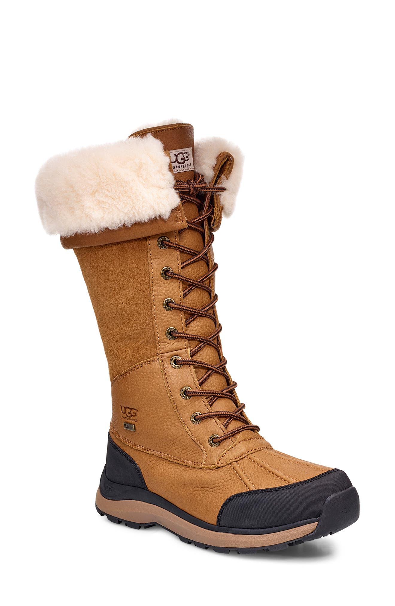 UGG<SUP>®</SUP>,                             Adirondack II Waterproof Tall Boot,                             Main thumbnail 1, color,                             CHESTNUT
