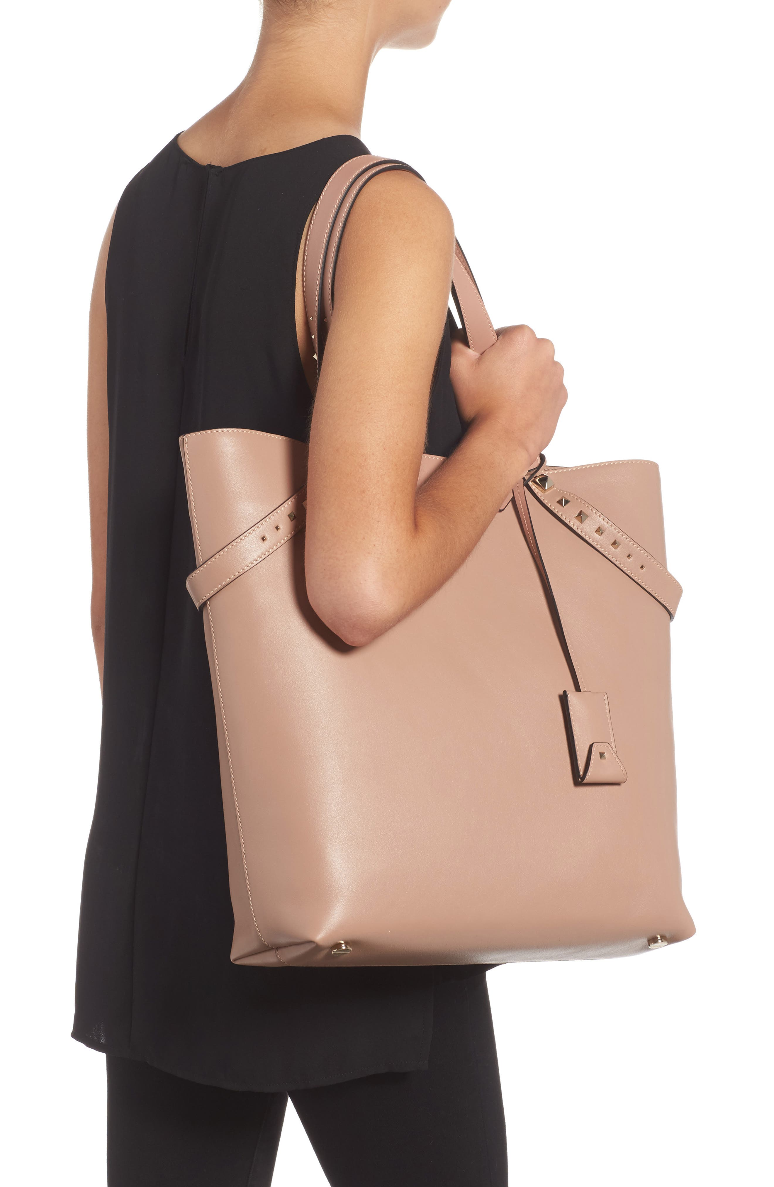 Lovestud Leather Tote,                             Alternate thumbnail 5, color,