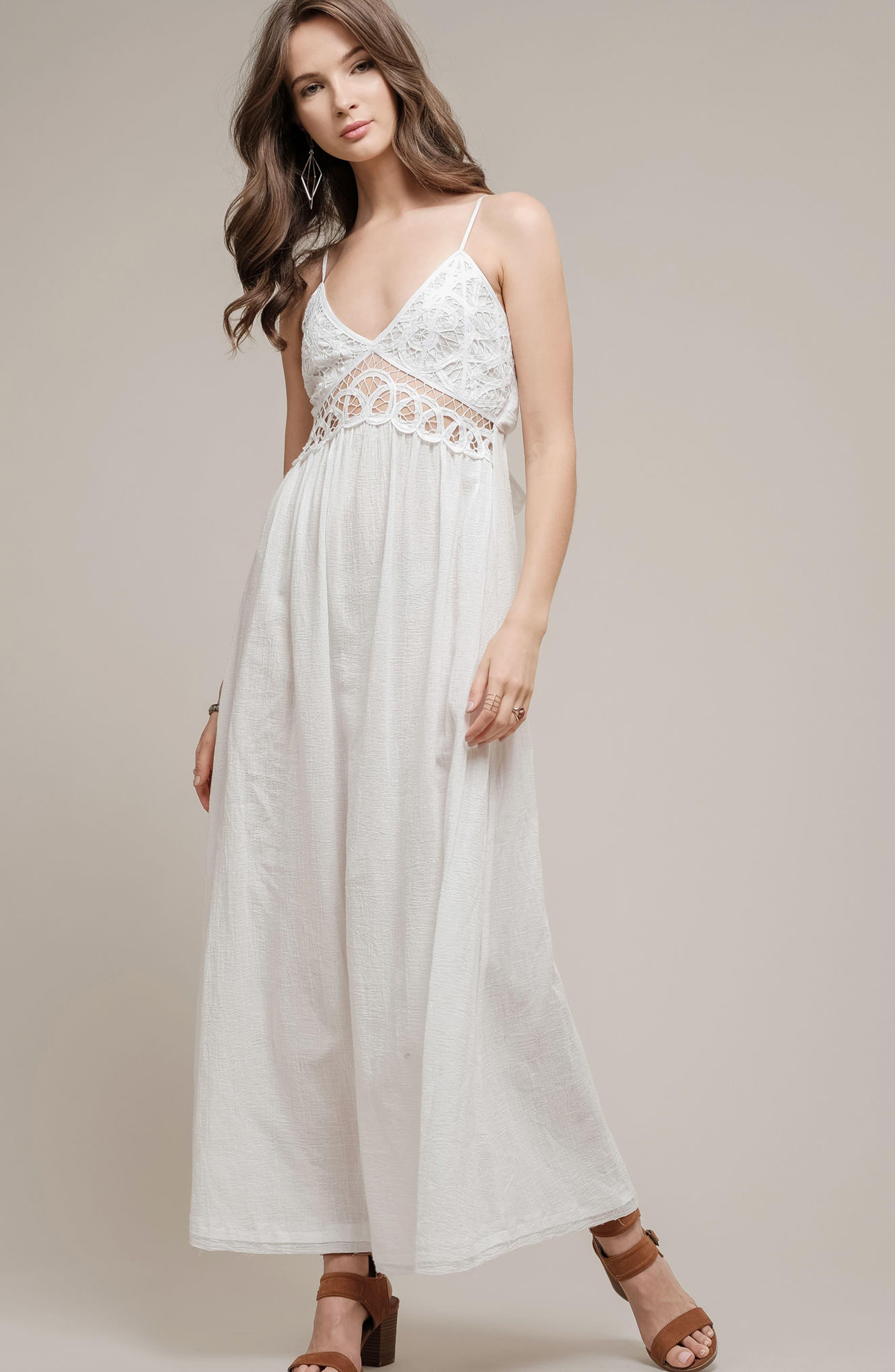 Lace Inset Empire Waist Maxi Dress,                             Alternate thumbnail 7, color,                             100
