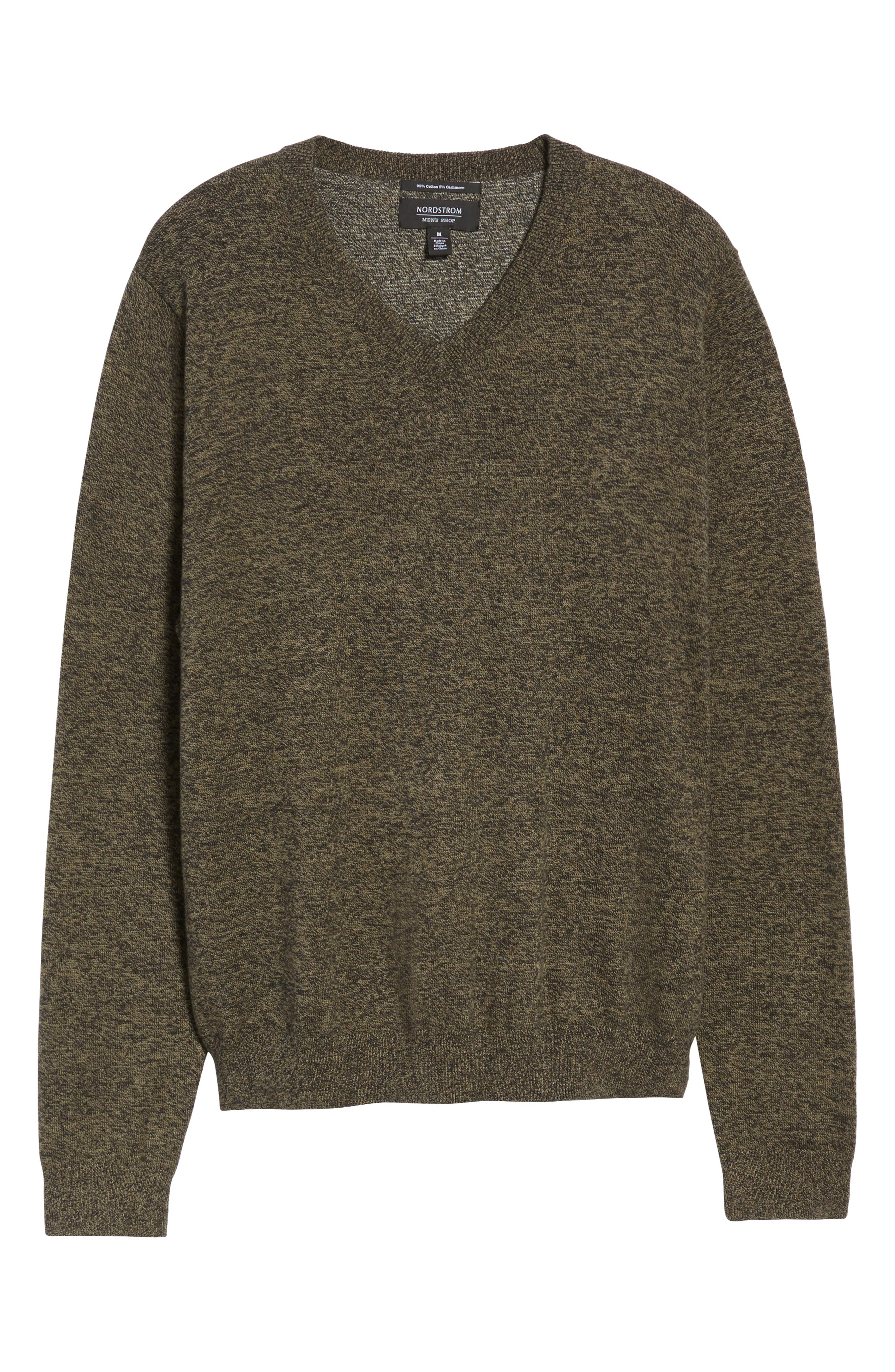 Cotton & Cashmere V-Neck Sweater,                             Alternate thumbnail 6, color,                             GREEN FOREST MARL